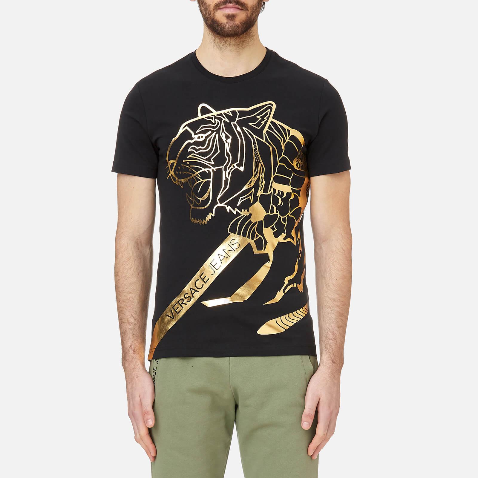 53602b1d1 Versace Jeans Men's Foil Print Tiger T-Shirt - Black/Gold Clothing |  TheHut.com
