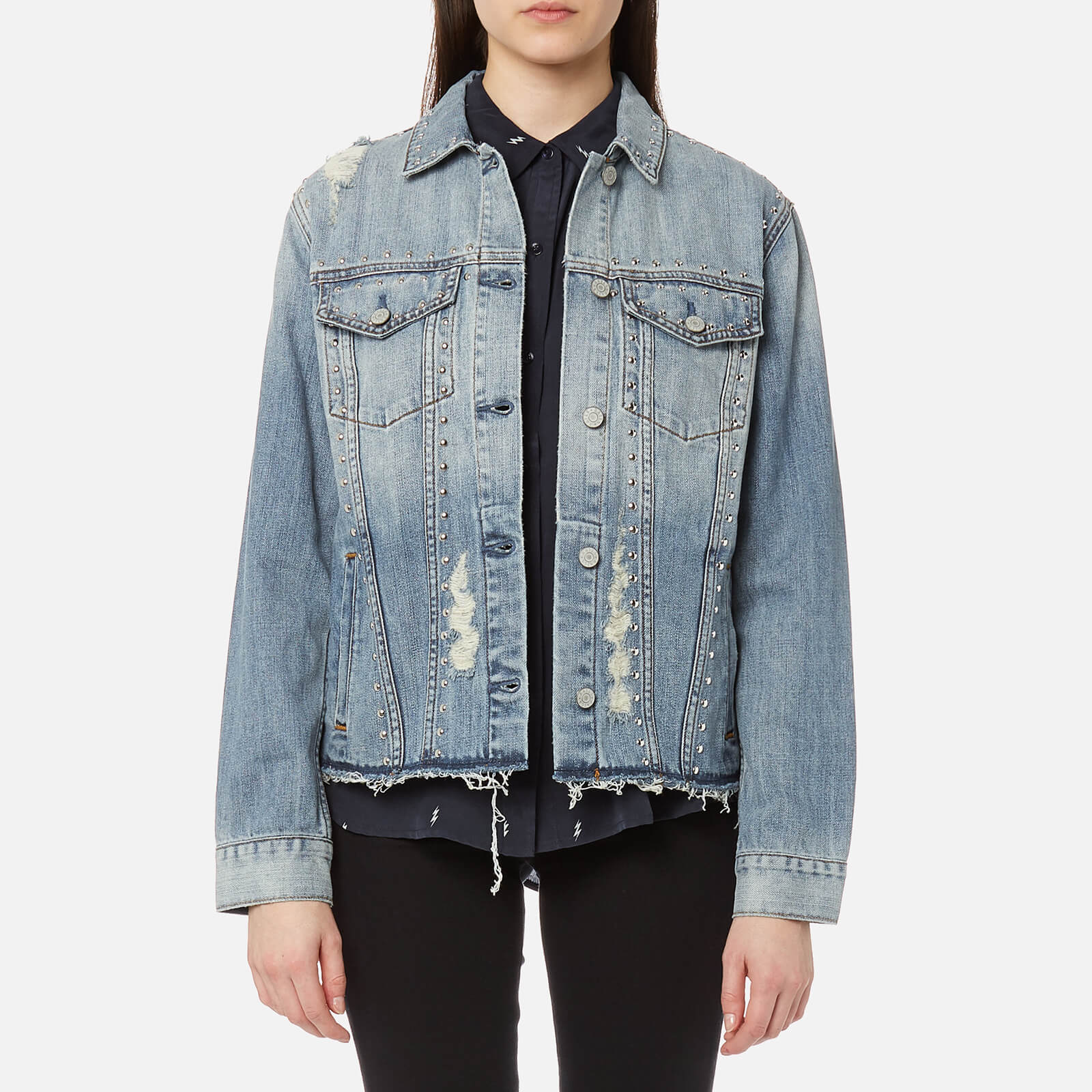 fc1b1fcb39 Rails Women s Knox Studded Denim Shirt Jacket with Studs - Medium Vintage - Free  UK Delivery over £50