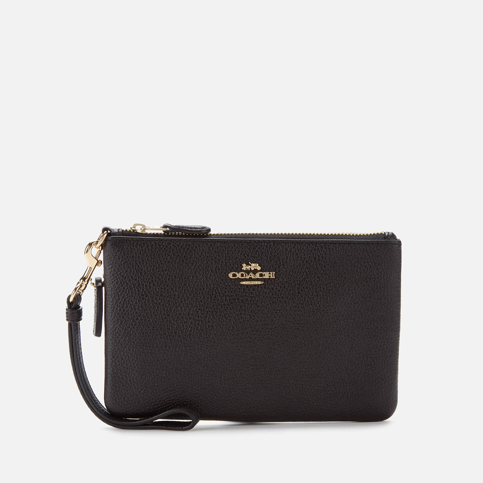 Coach Women's Polished Pebble Small Wristlet - Black