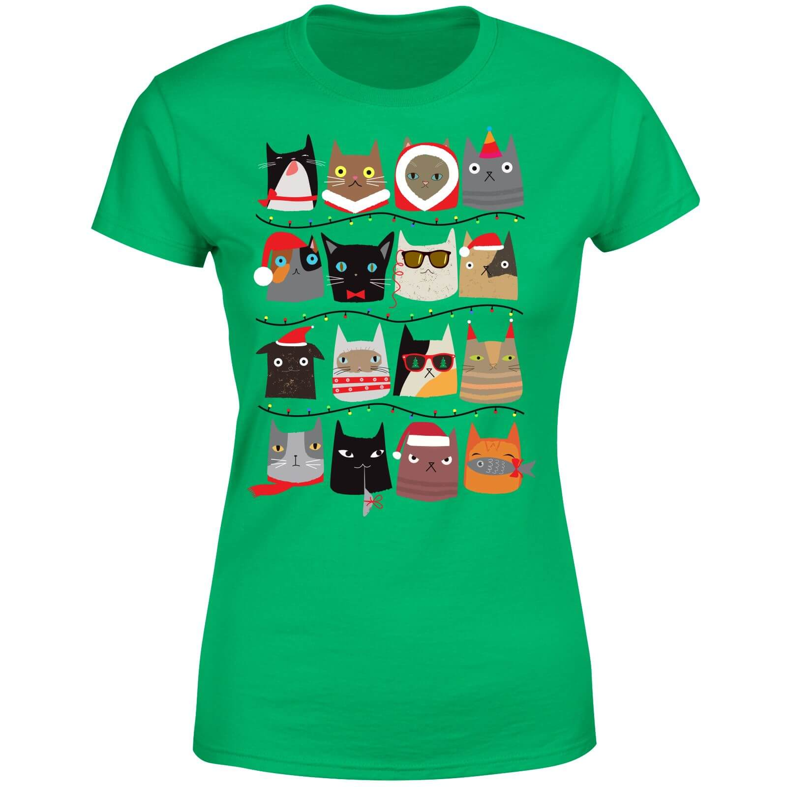 t shirt femme chats de no l vert my geek box. Black Bedroom Furniture Sets. Home Design Ideas