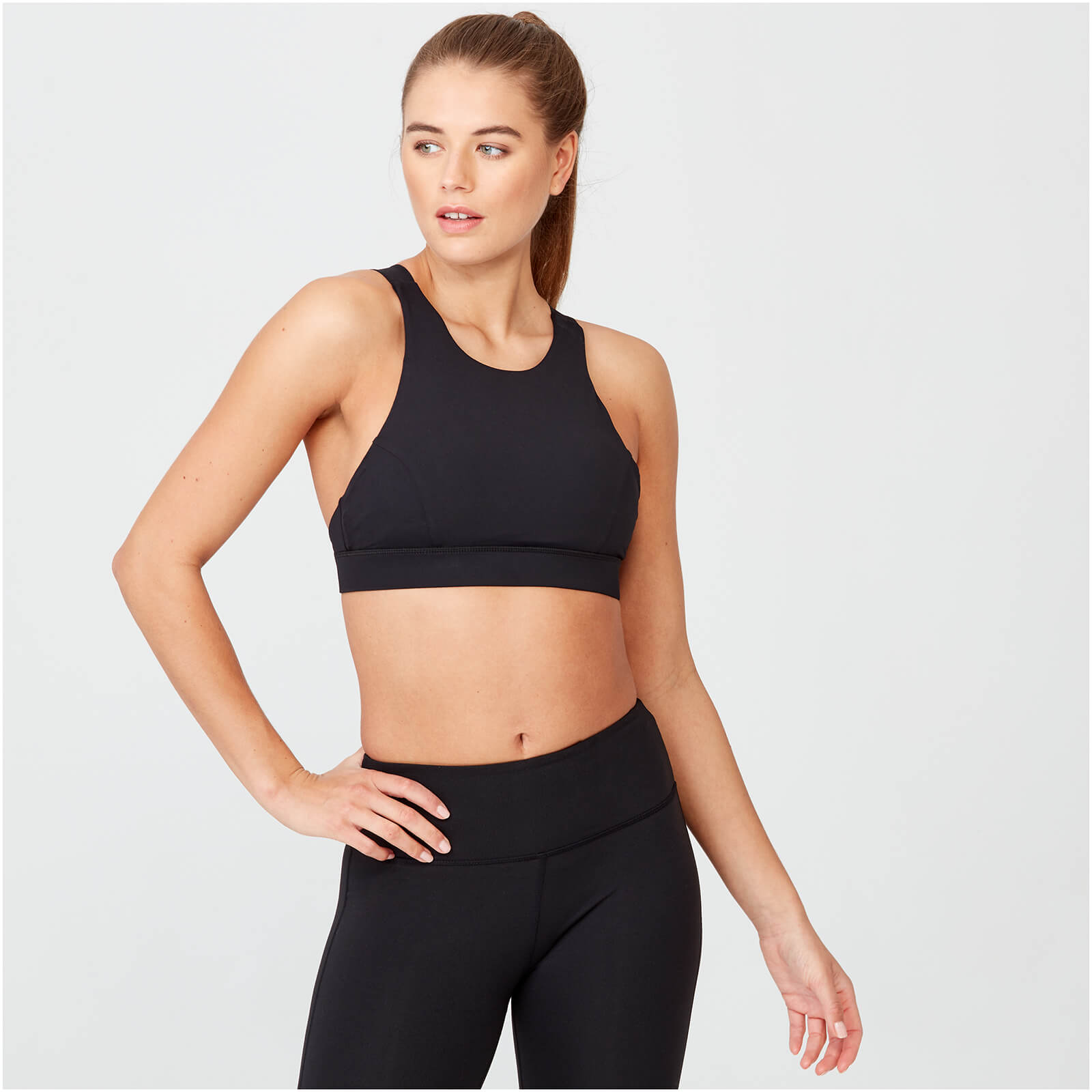 Racer Sports Bra - Black - XS