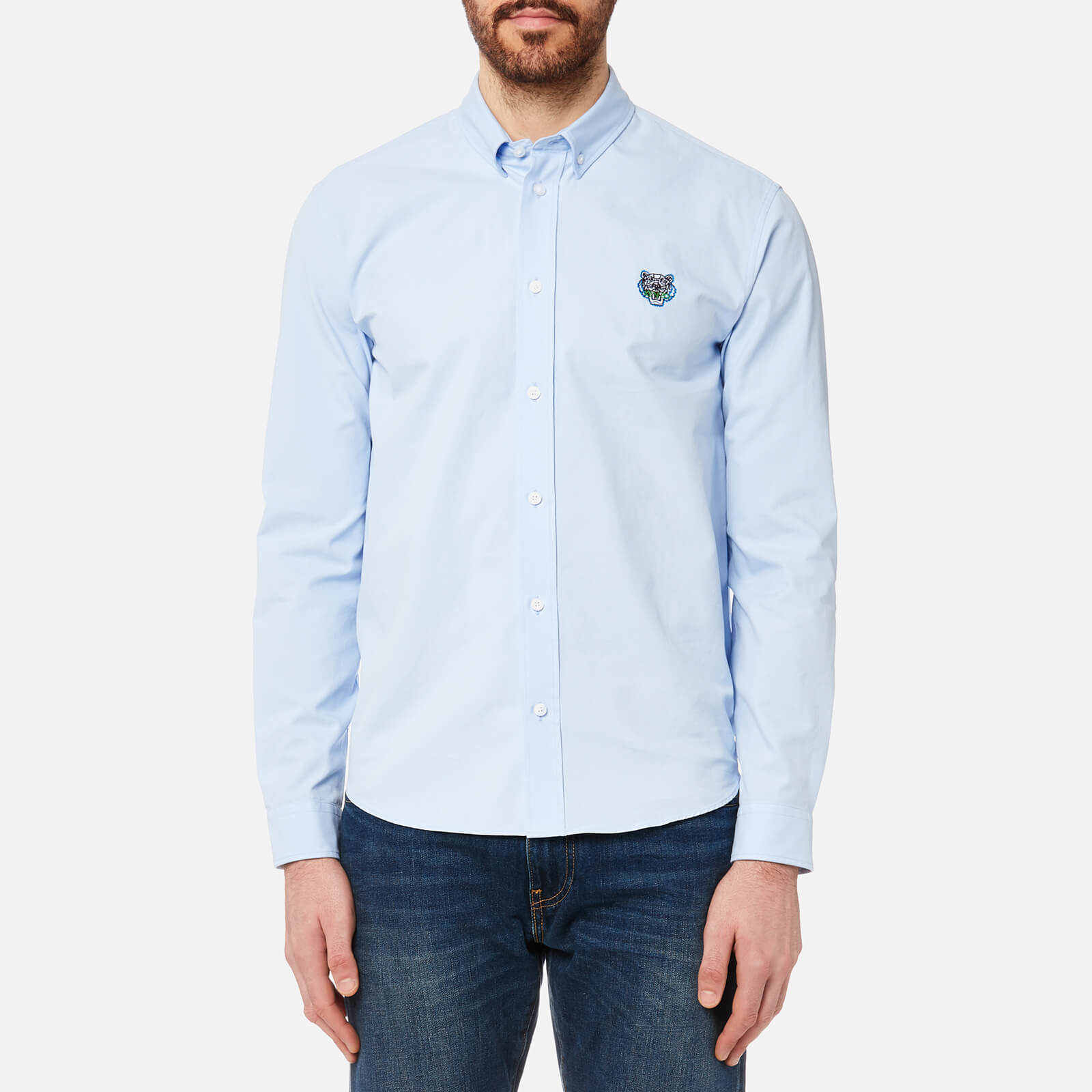 069cf159 KENZO Men's Tiger Crest Casual Fit Oxford Shirt - Light Blue - Free UK  Delivery over £50
