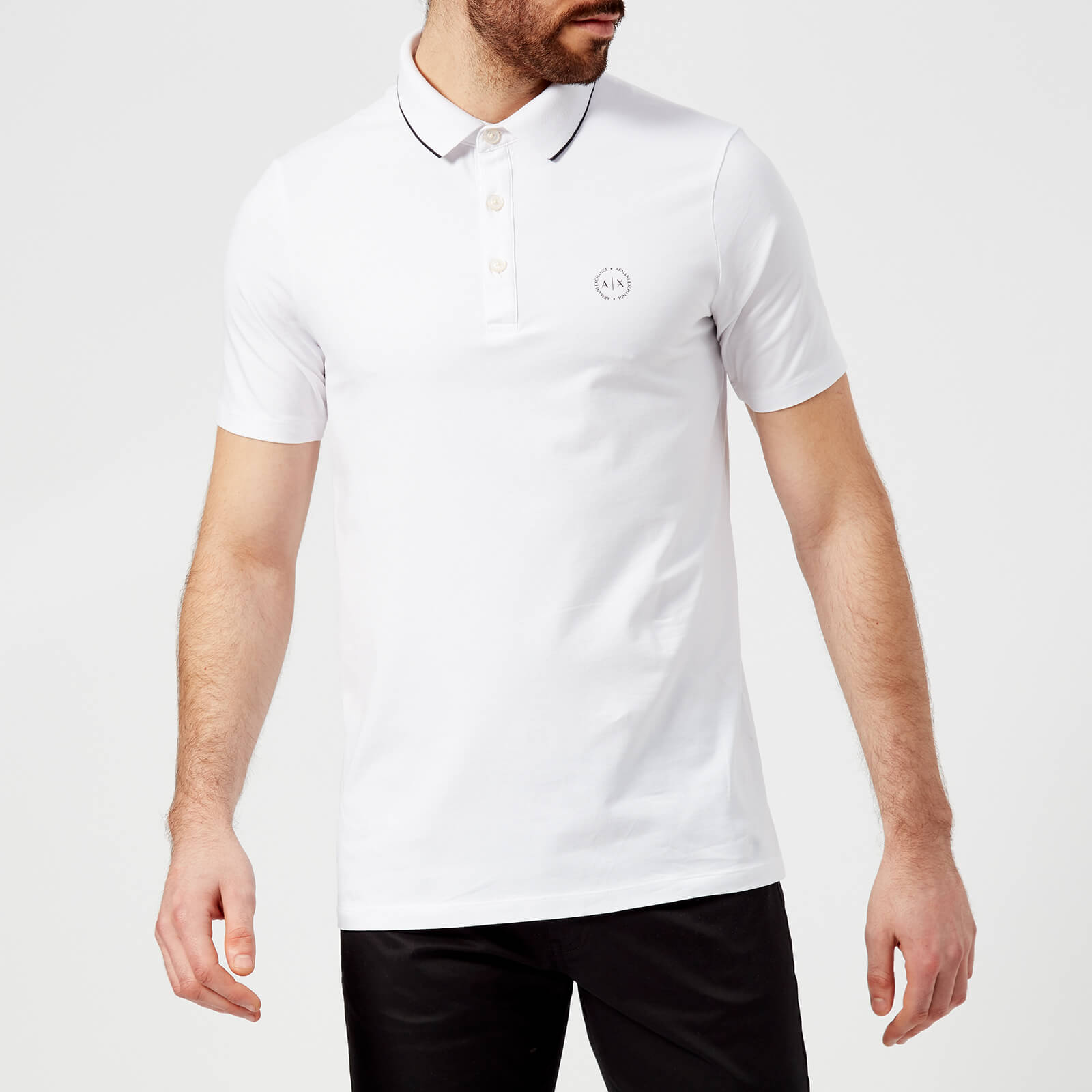 0a0c6d91 Armani Exchange Men's Small Logo Polo Shirt - White