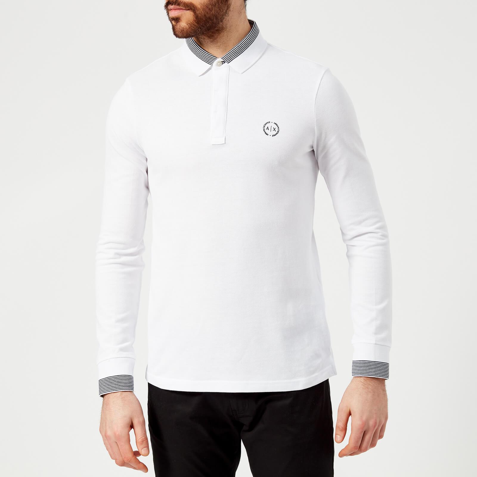 53b37881 Armani Jeans Navy Long Sleeve Pique Polo Shirt - raveitsafe