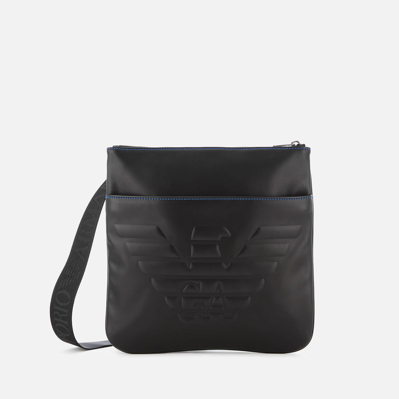 df72213dc517 Emporio Armani Men s Big Flat Messenger Bag - Black - Free UK Delivery over  £50