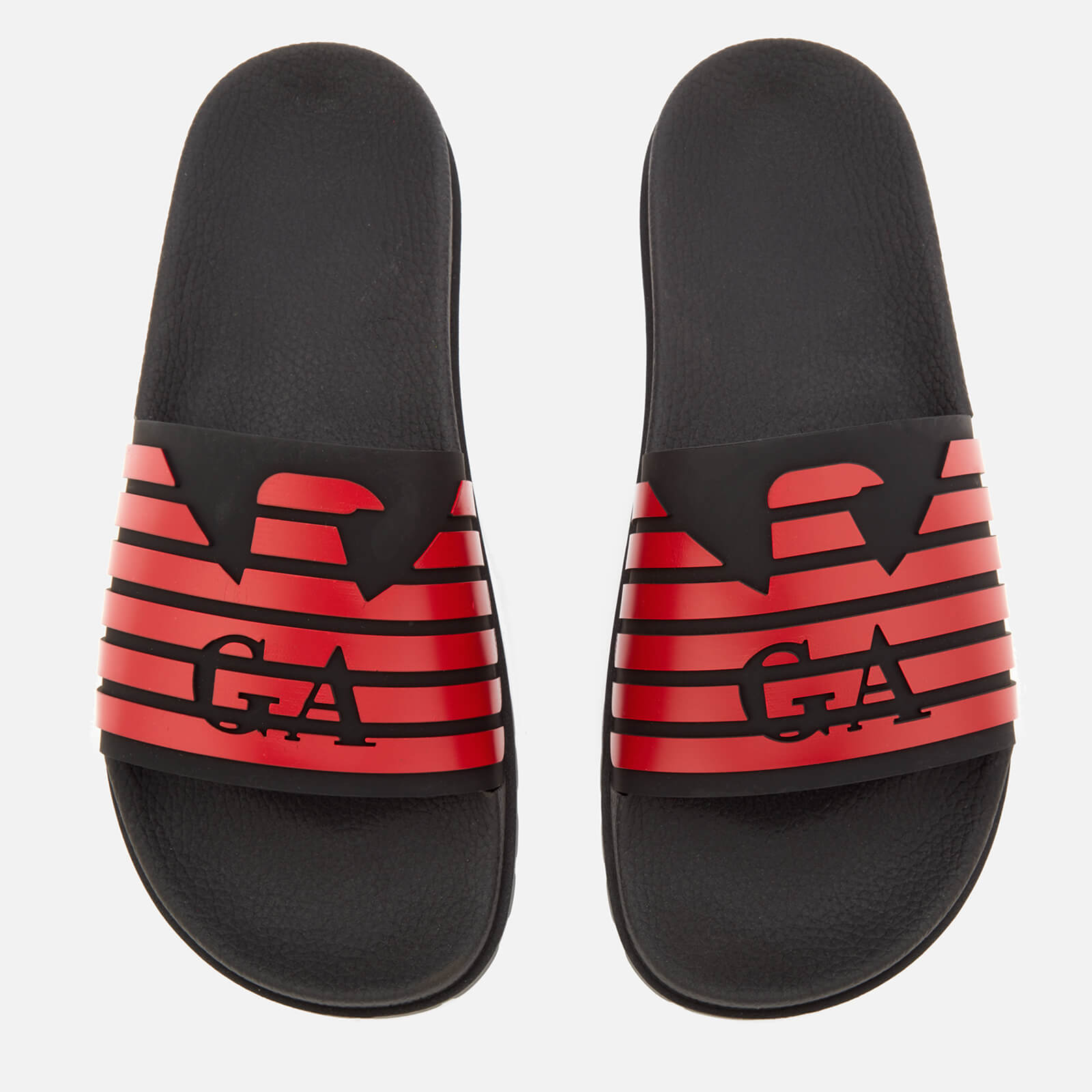 28b6ecee5a47 Emporio Armani Men s Slide Sandals - Black Red - Free UK Delivery over £50