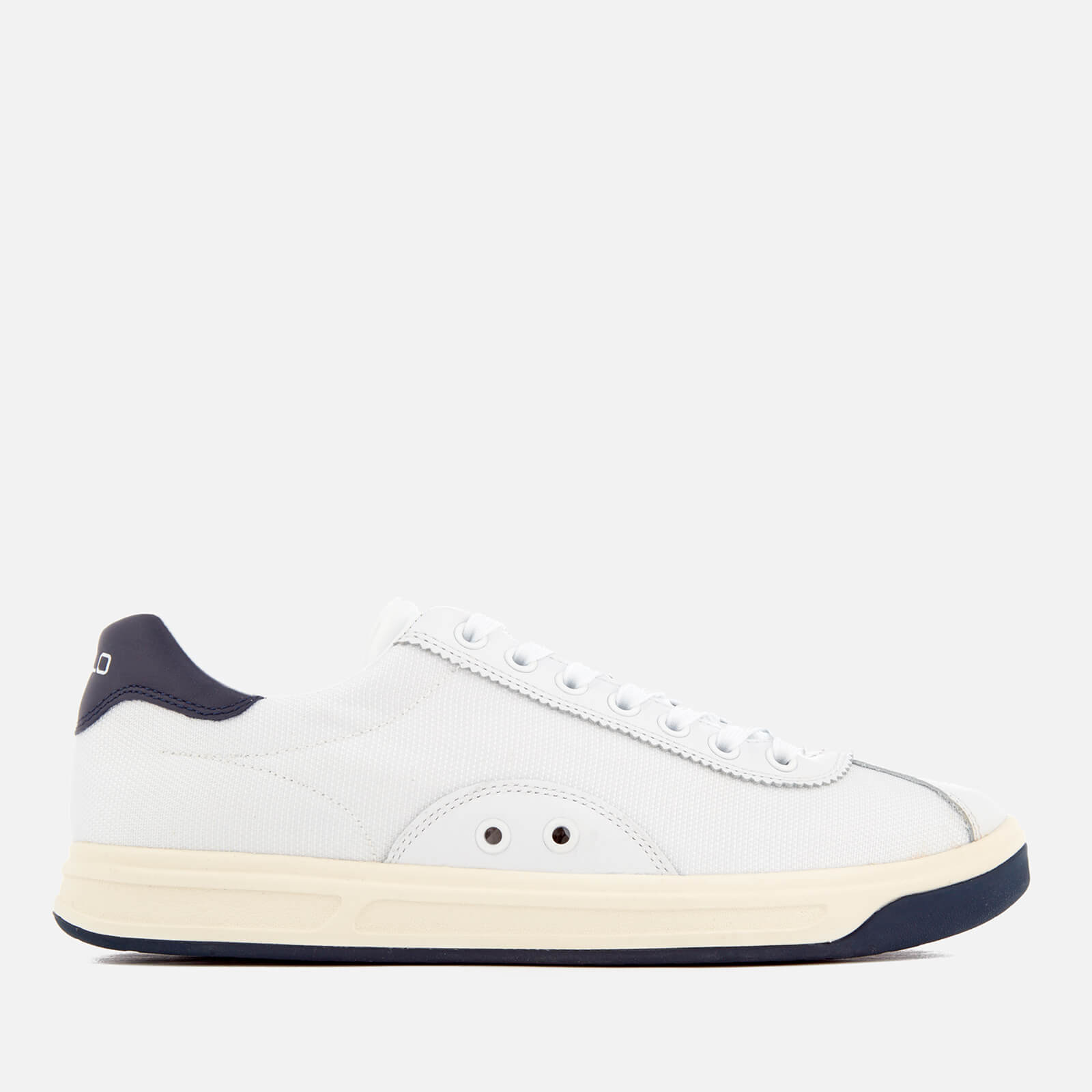 6d6bb7d31c9 Polo Ralph Lauren Men s Court 100 Leather Mesh Trainers - White Newport  Navy - Free UK Delivery over £50