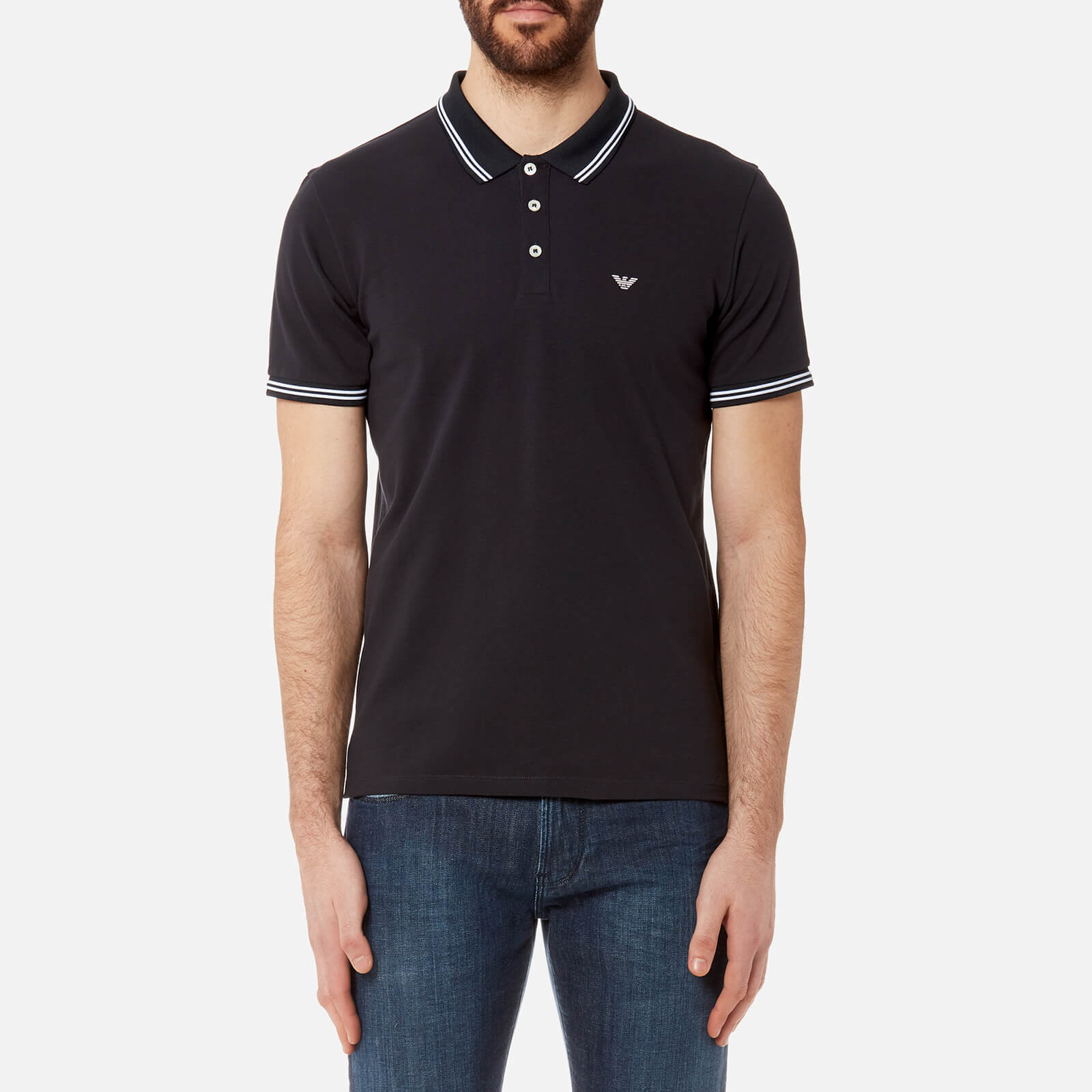 dfdb158ee Emporio Armani Men's Tipped Polo Shirt - Blue Scuro - Free UK Delivery over  £50