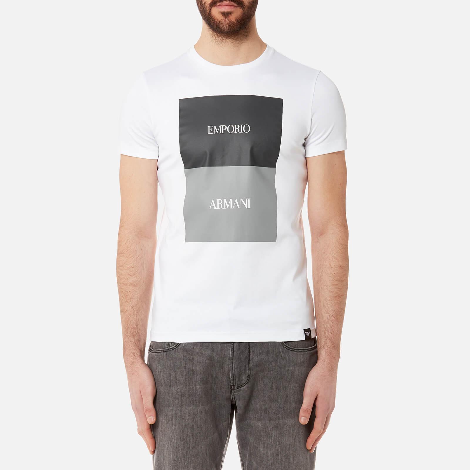 2c57bd43 Emporio Armani Men's Square Print T-Shirt - Bianco Ottico