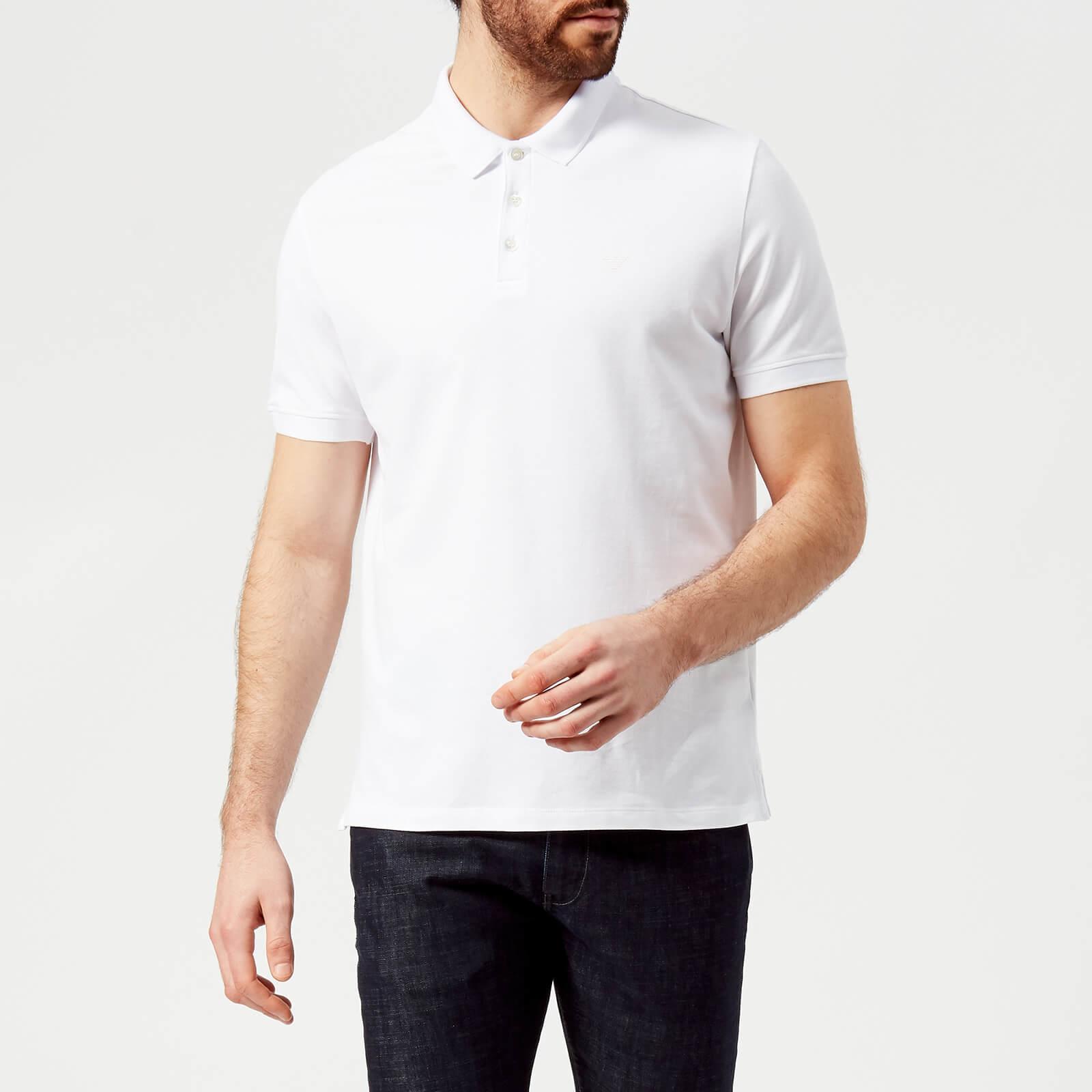 74c2ac4e Emporio Armani Men's Small Eagle Polo Shirt - Bianco Ottico - Free UK  Delivery over £50