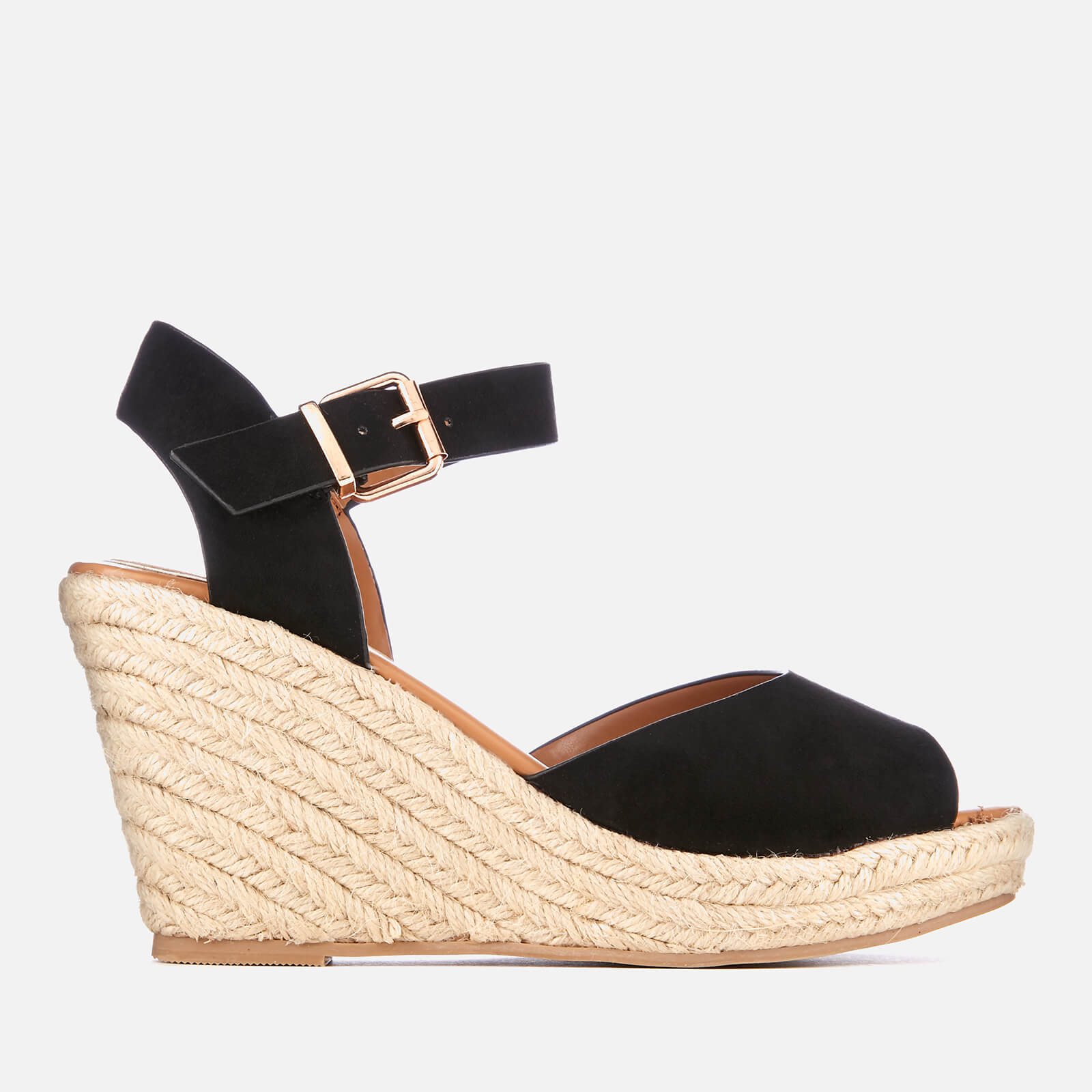 093e64d4509 Miss KG Women's Paisley Suedette Wedged Espadrille Sandals - Black