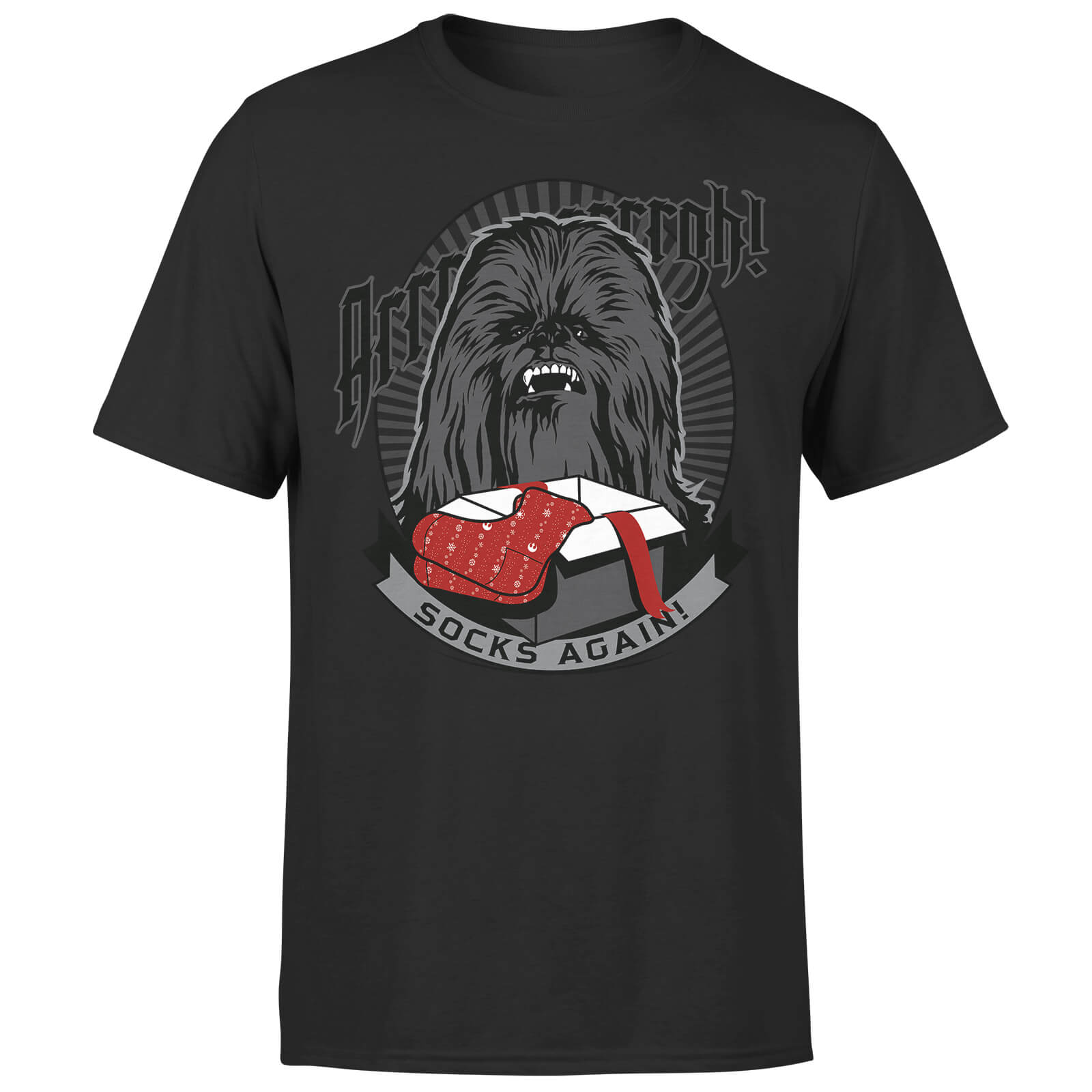 Star Wars Christmas Chewbacca Arrrugh Socks Again Black T-Shirt