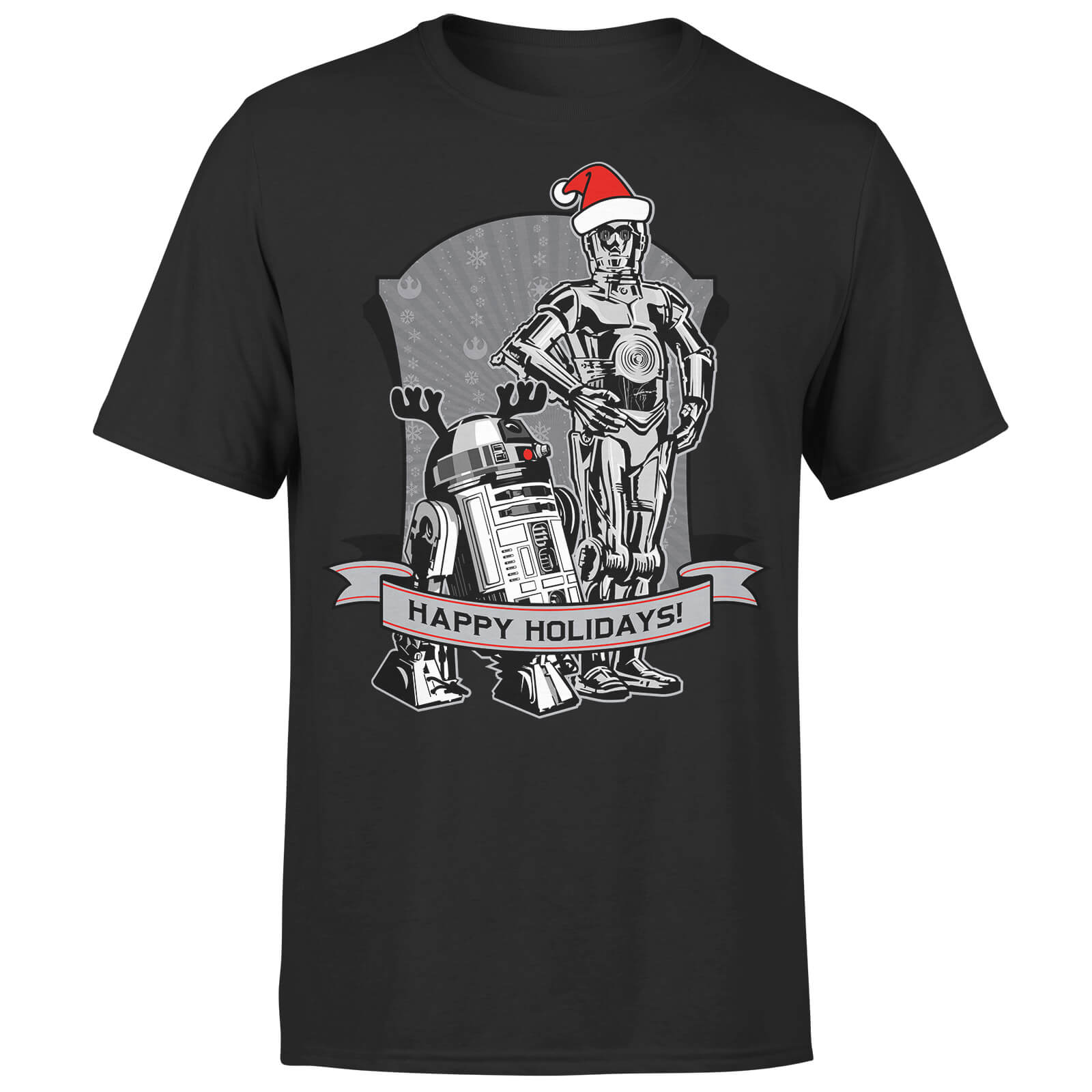 Star Wars Christmas Happy Holidays Droids Black T-Shirt