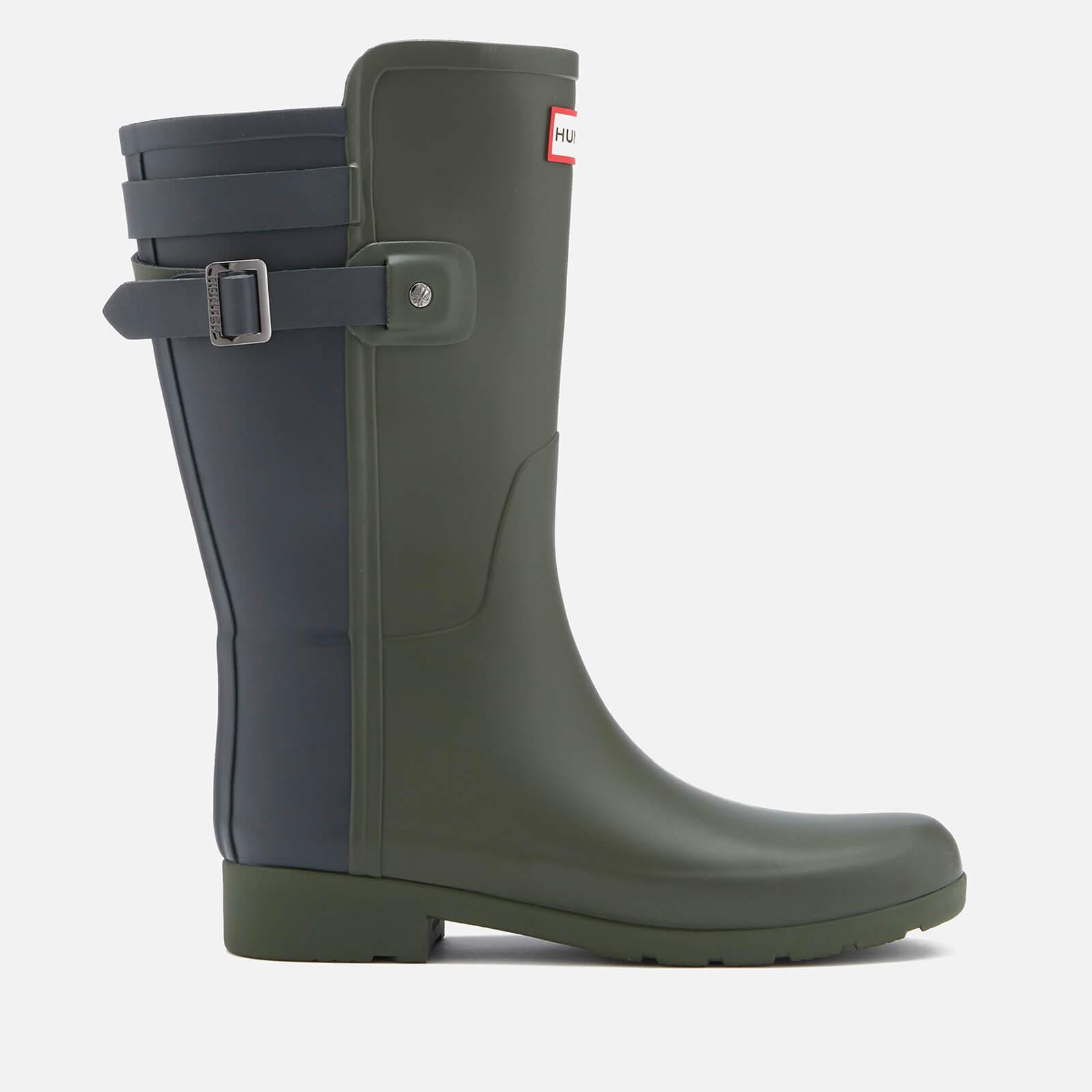 2b41fca10 Hunter Women s Original Short Back Strap Refined Wellies - Dark Olive Navy  Womens Footwear