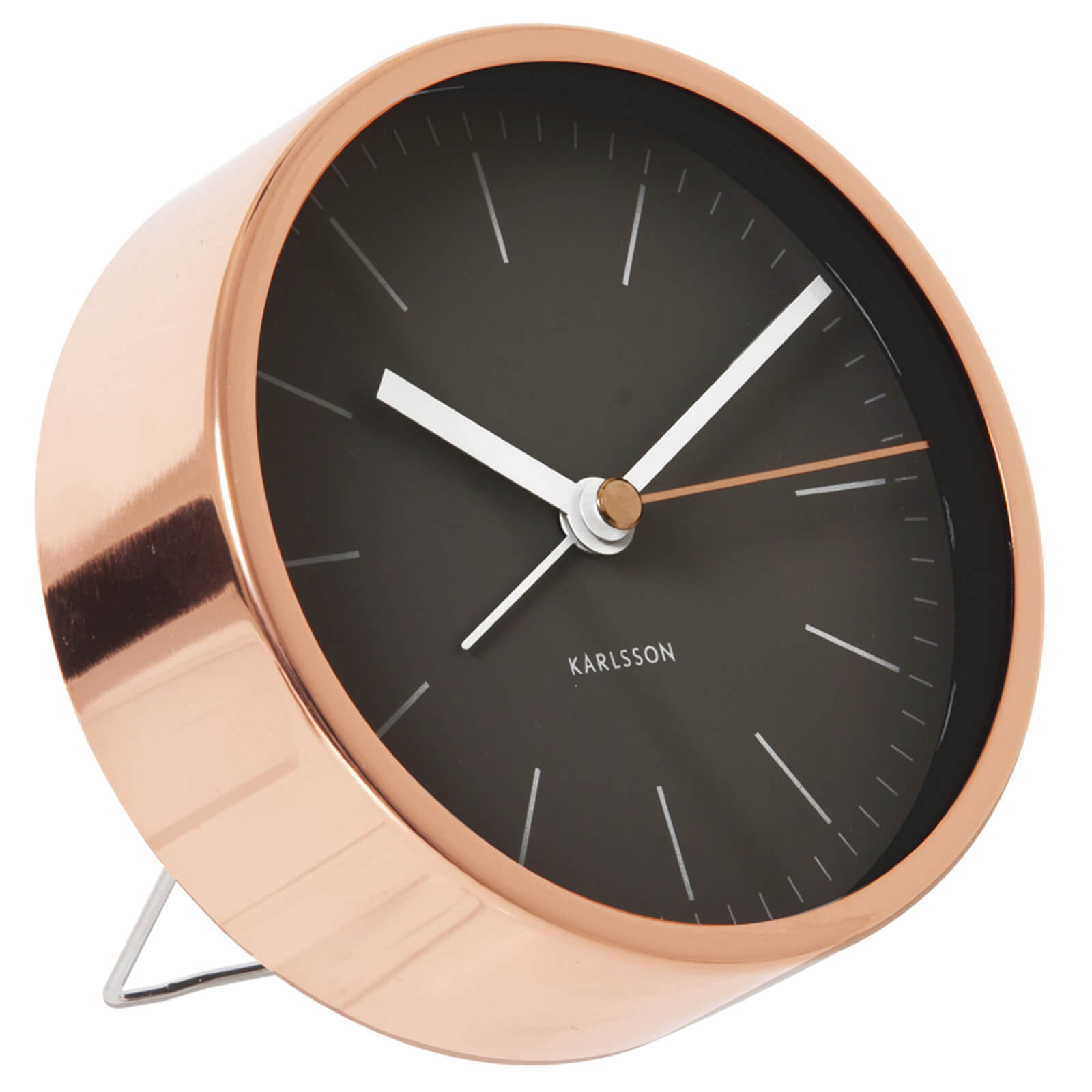 Karlsson Minimal Alarm Clock - Black Steel Copper Plated