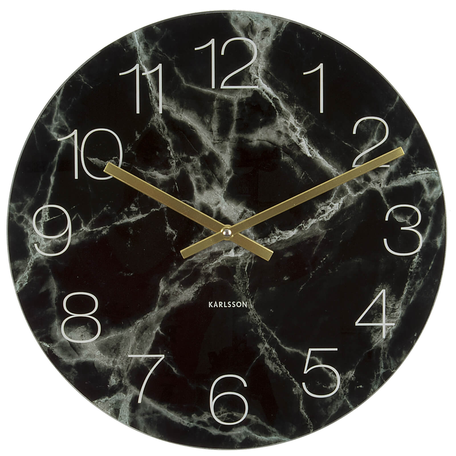 Karlsson Small Glass Marble Wall Clock - Black