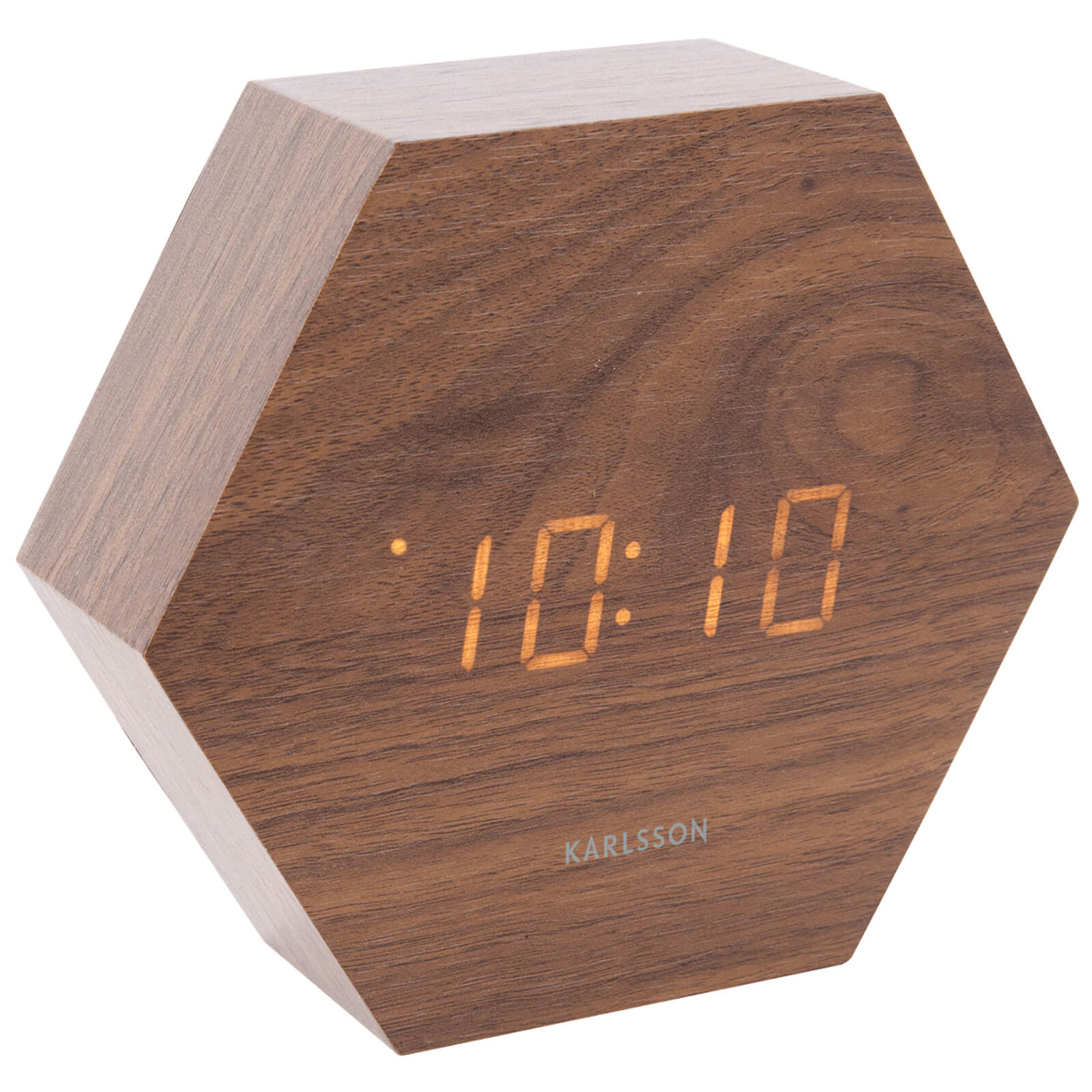 Karlsson Hexagon Alarm Clock - Dark Wood Veneer - Orange LED