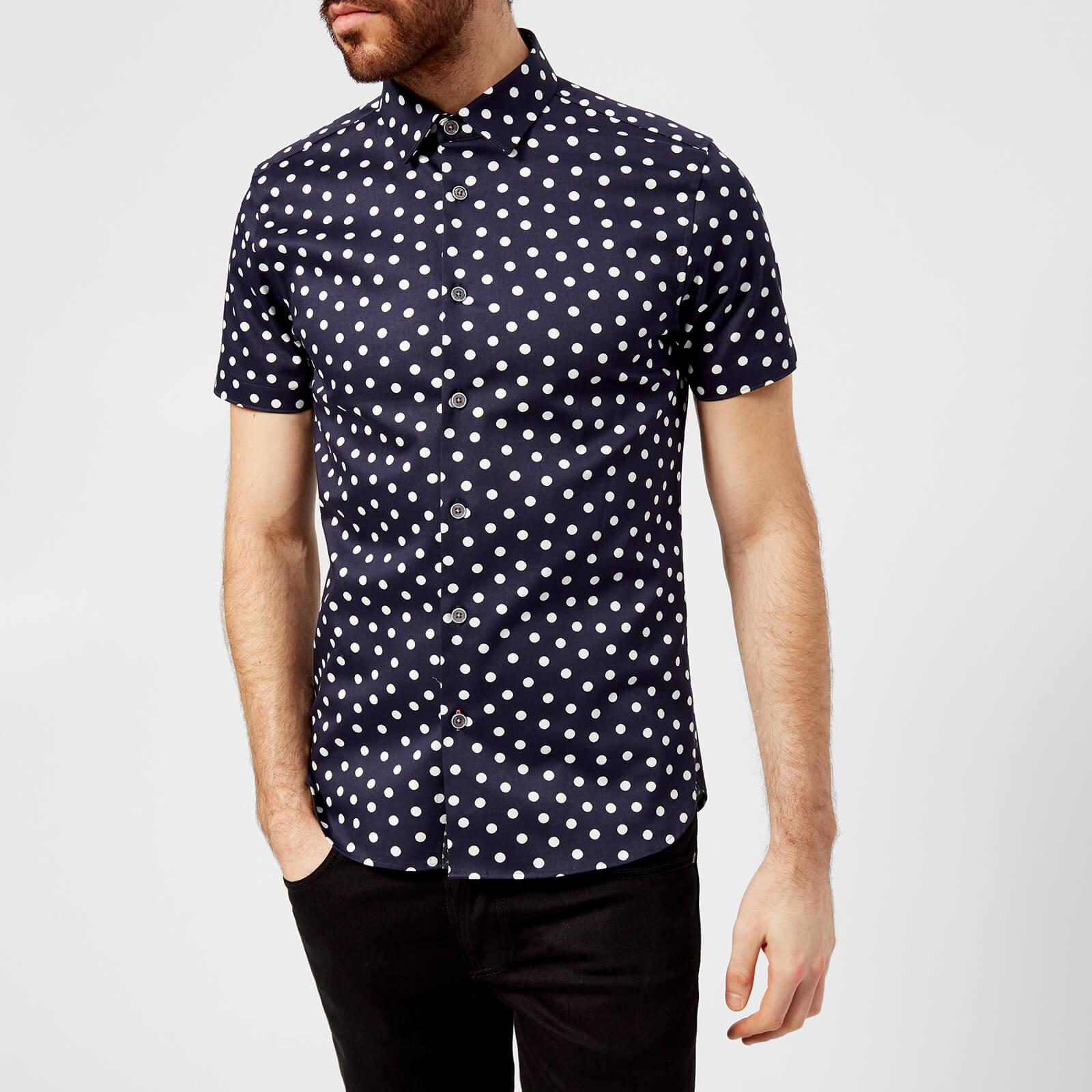 a79aac63d903 Ted Baker Men s Liklak Spot Print Short Sleeve Shirt - Navy Mens Clothing