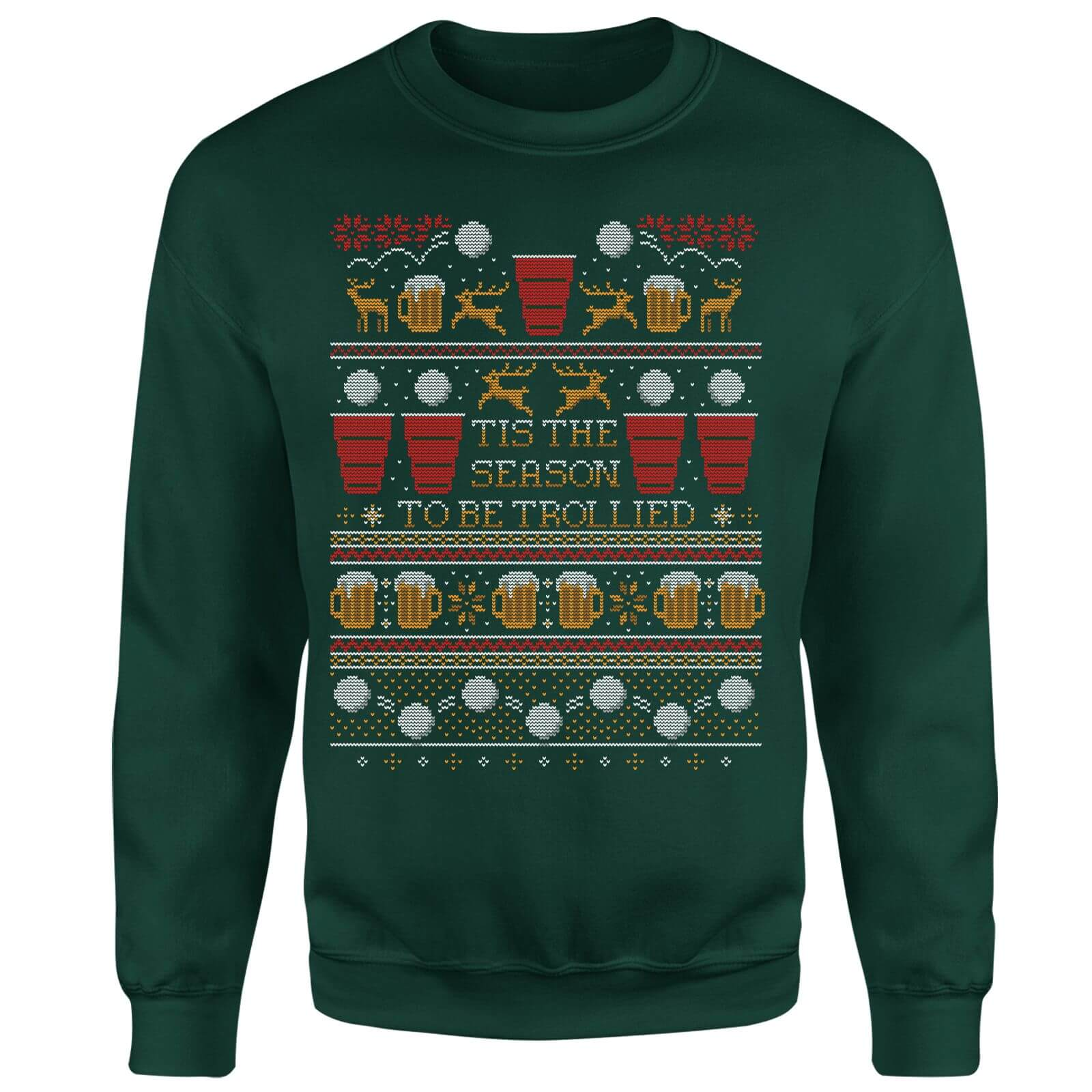 Tis The Season To Be Trollied Sweatshirt - Forest Green