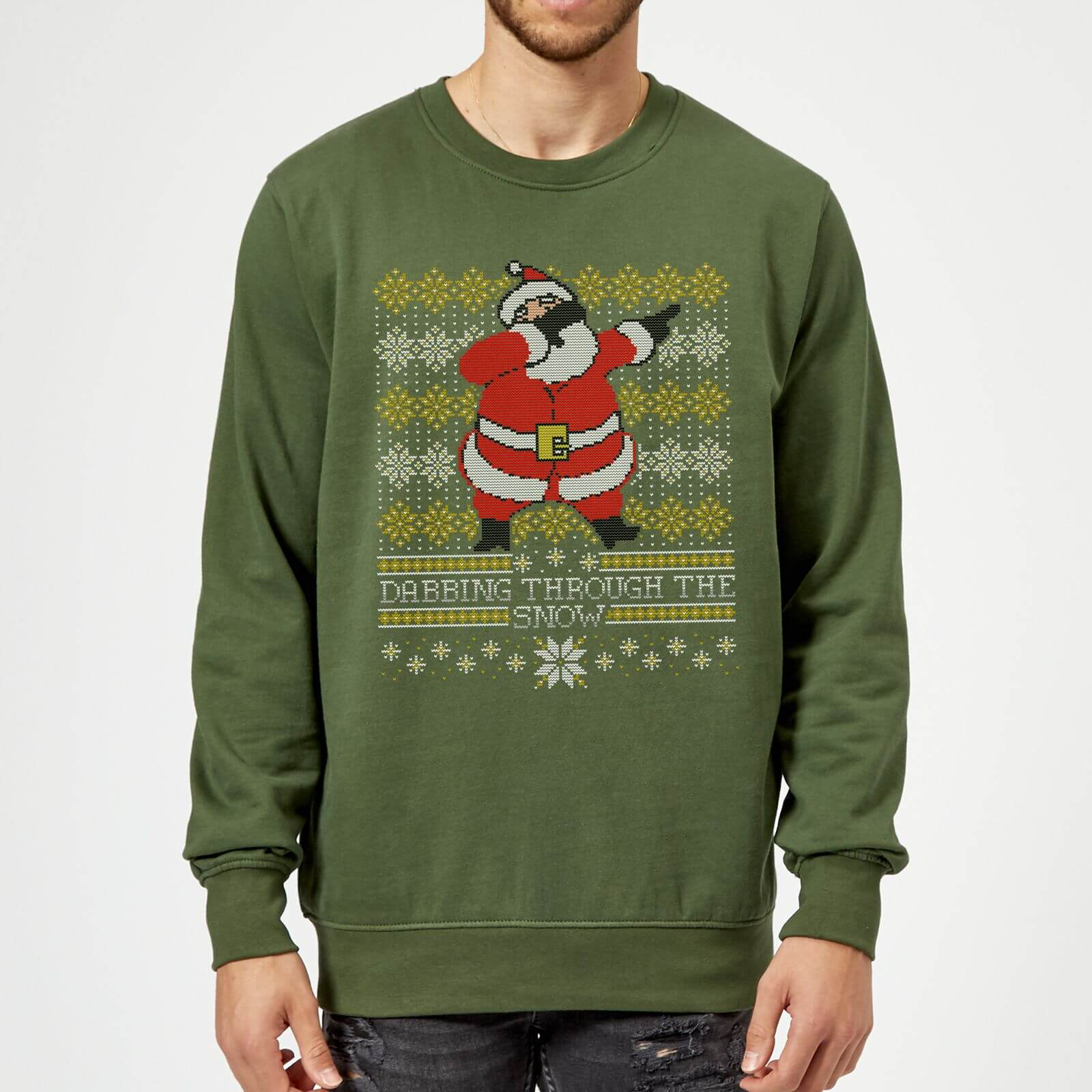 Pull De Noel Geek.Pull De Noël Homme Dabbing Through The Snow Fair Isle Vert