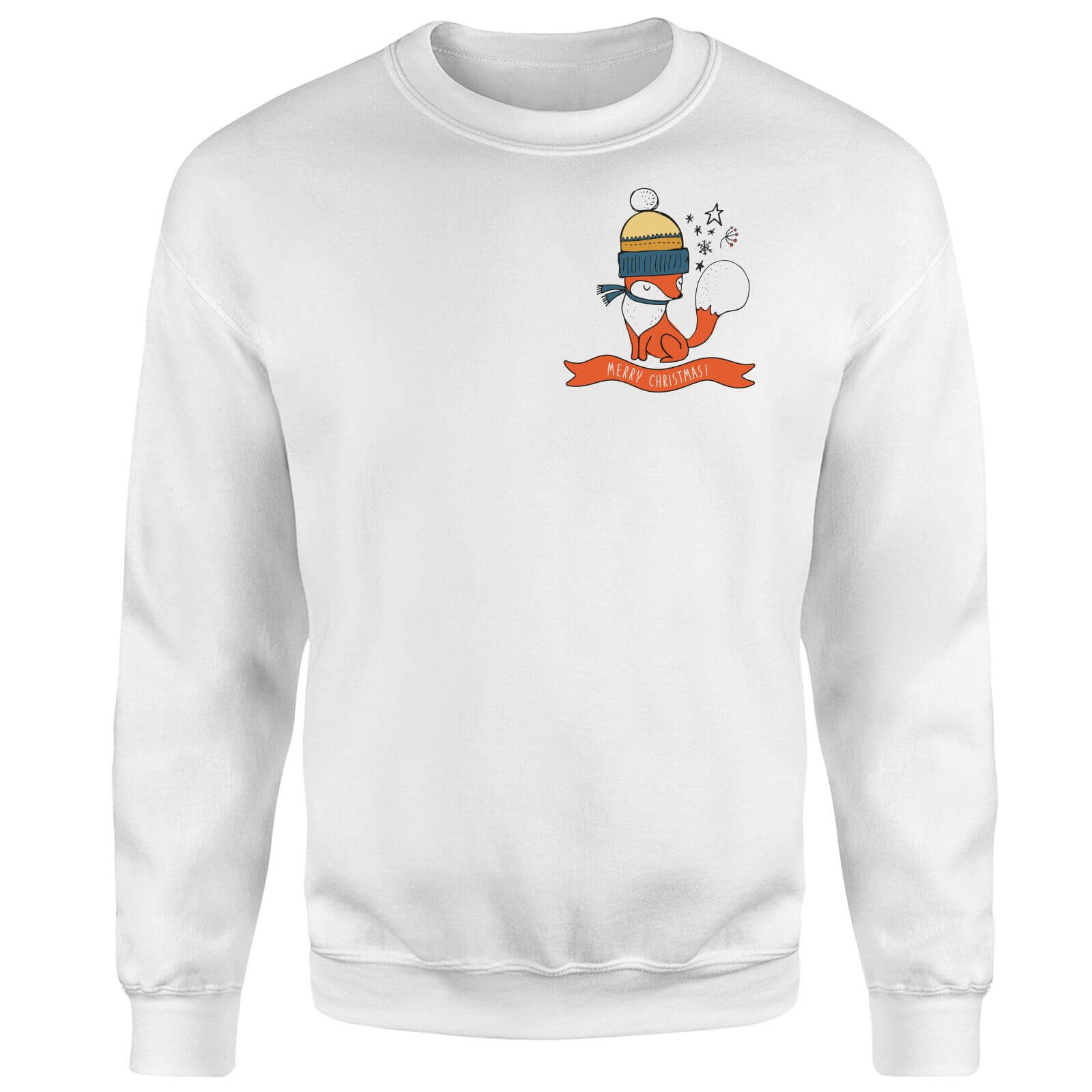 Christmas Fox Pocket Sweatshirt - White