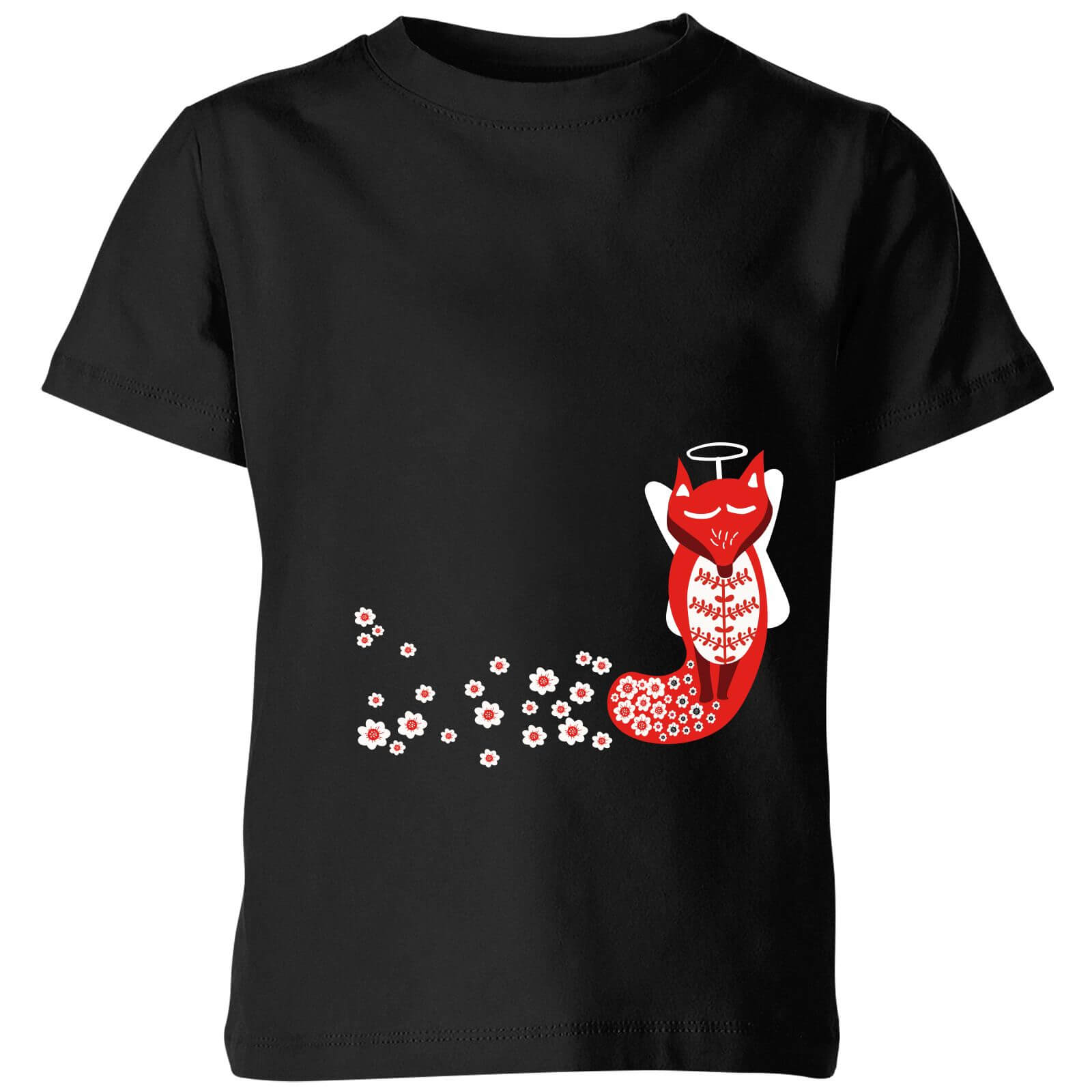 10f5eddab Flower Fox Kids' T-Shirt - Black | IWOOT