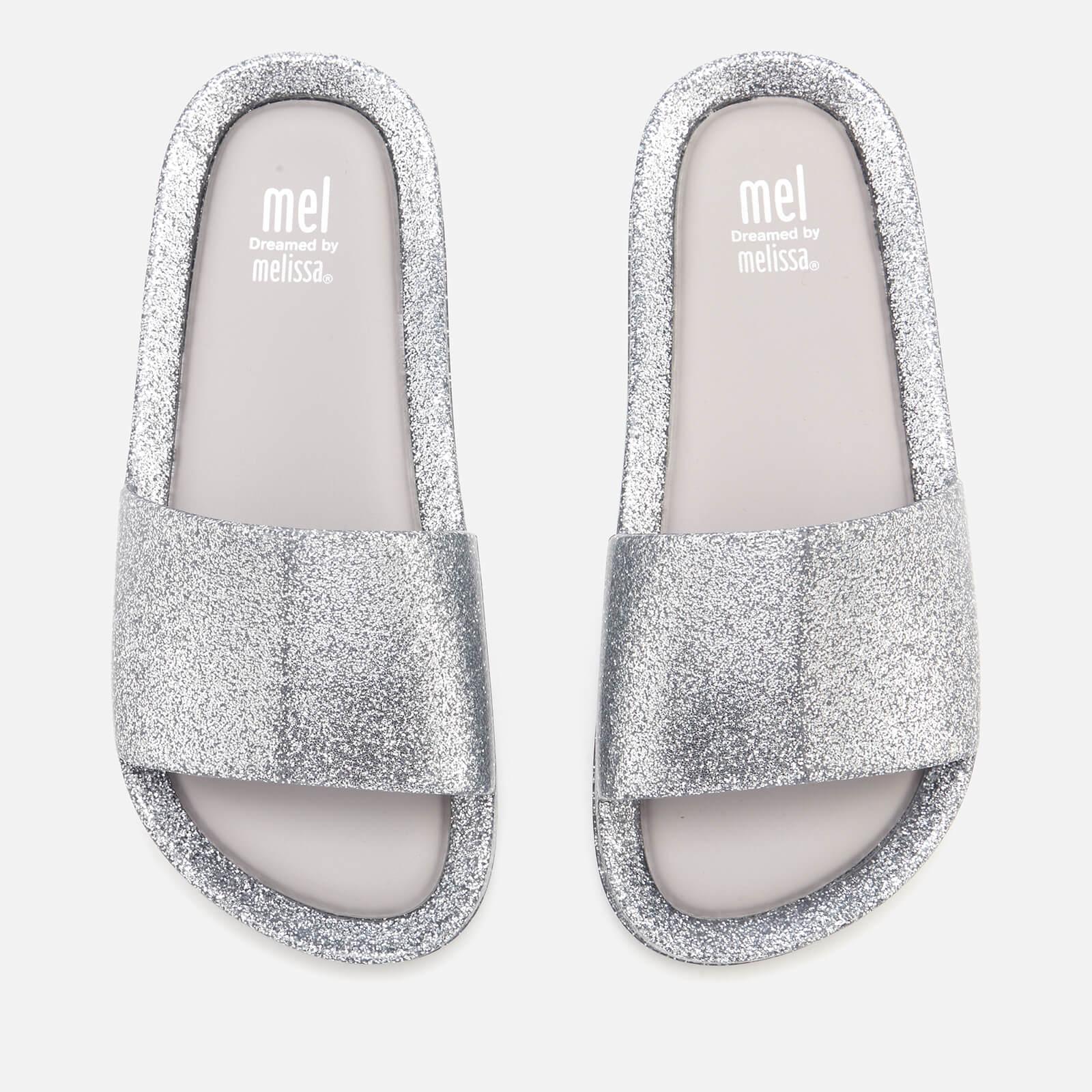 7d732c781ccd Mini Melissa Kids' Beach Slide Sandals - Silver Glitter | FREE UK Delivery  | Allsole