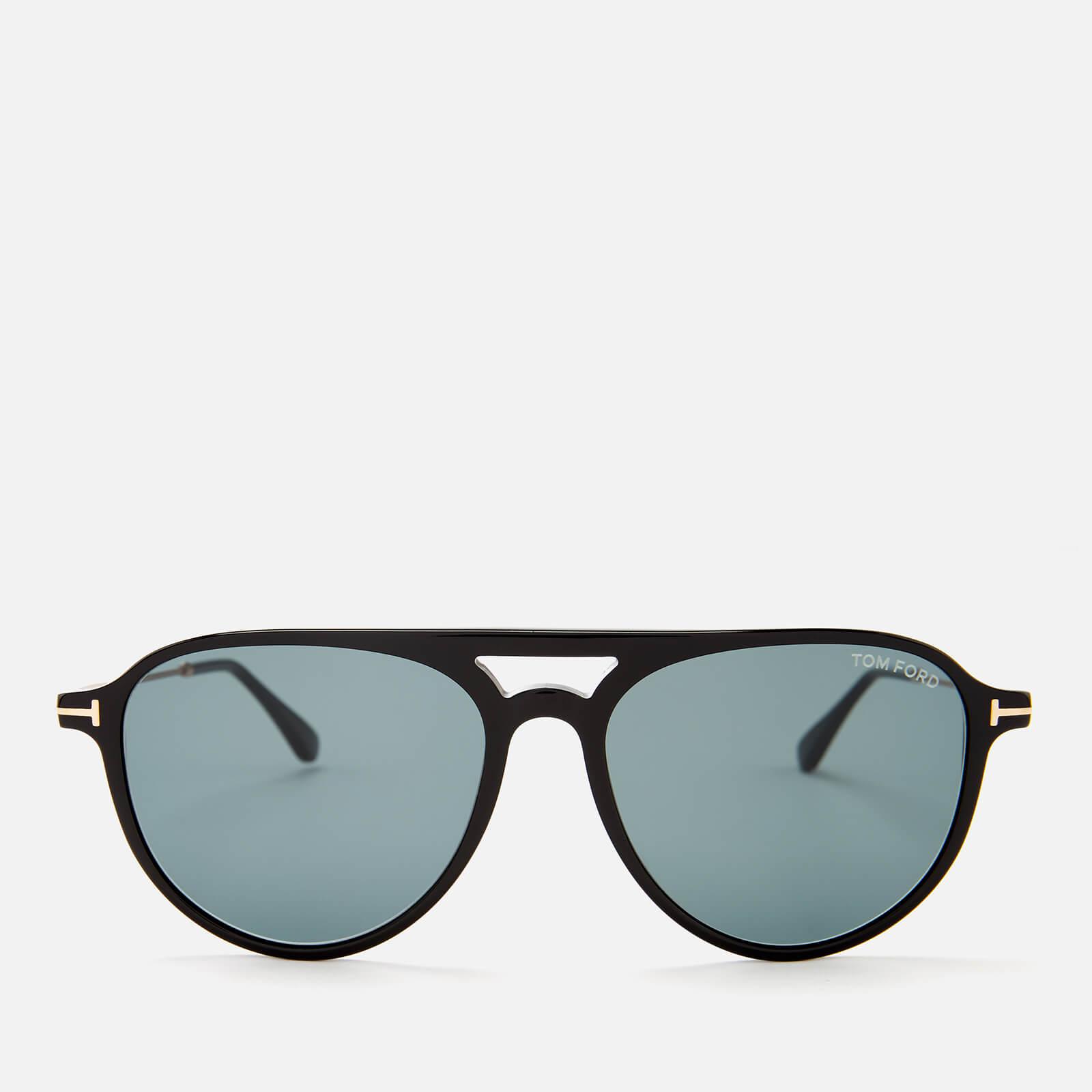 96ac367213e1 Tom Ford Men s Carlo Aviator Style Sunglasses - Shiny Black Blue - Free UK  Delivery over £50