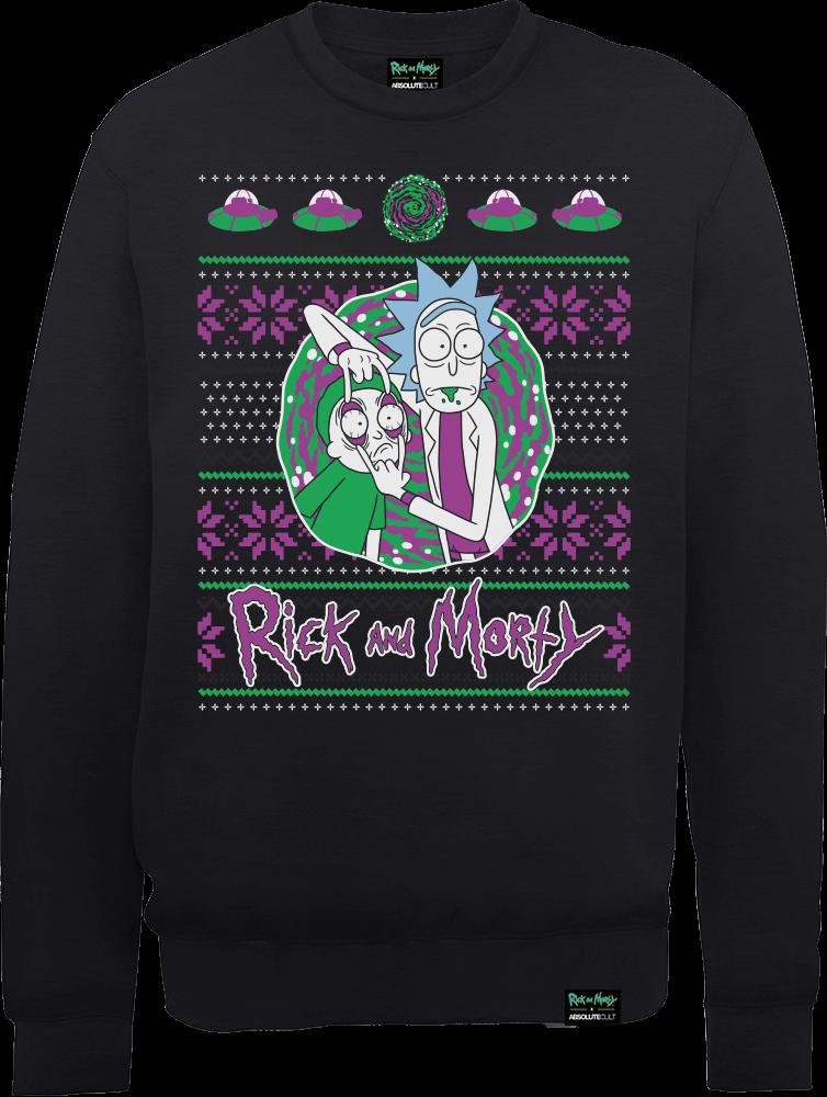 Rick And Morty Portal Men's Black Sweatshirt