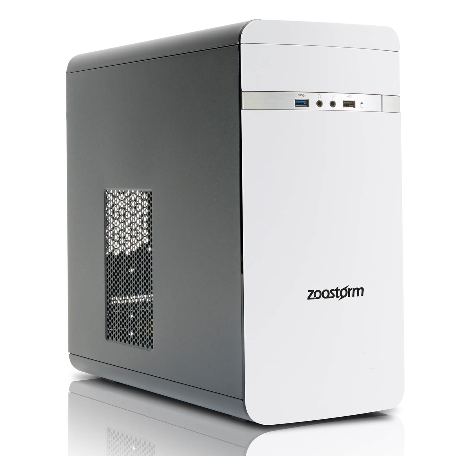 Zoostorm Evolve Desktop PC (Windows 10 Home, Intel Core i3-7100, 8GB RAM, 2TB HDD) - White