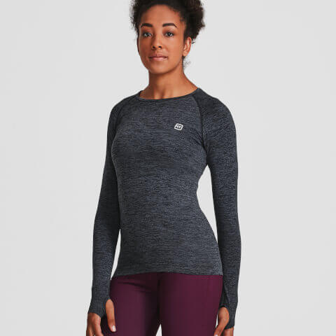 XS - Seamless Long Sleeve Top - Black