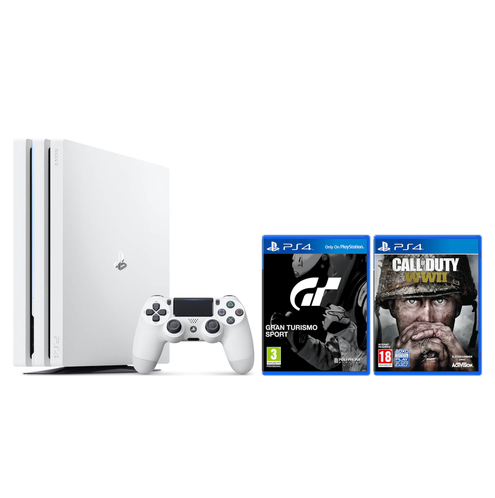 Tidssvarende Sony PlayStation 4 Pro 1TB White with Gran Turismo Sport & Call of OM-59