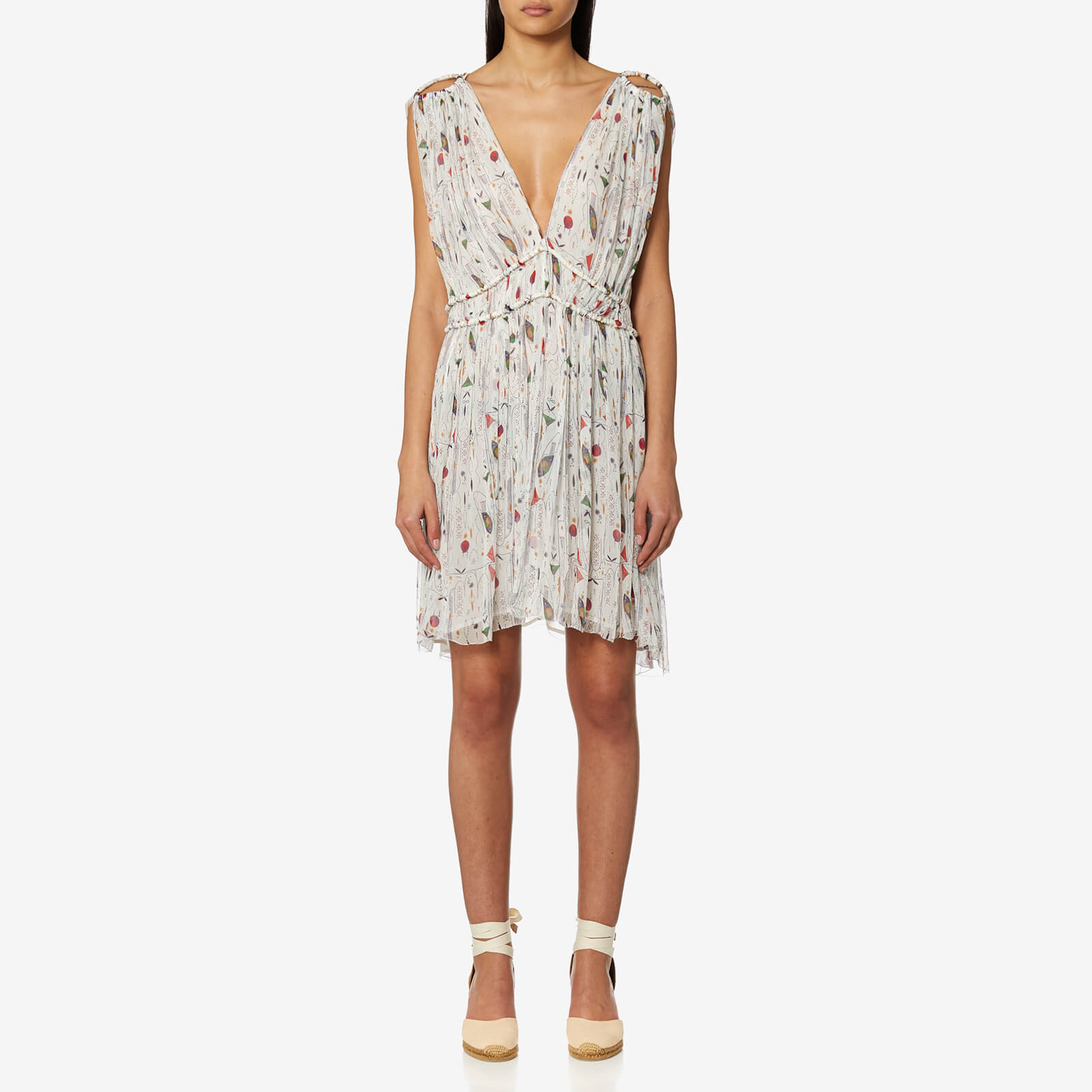 049b1cb754d Isabel Marant Etoile Women s Estelle Printed Chiffon Silk Short Dress -  Ecru - Free UK Delivery over £50