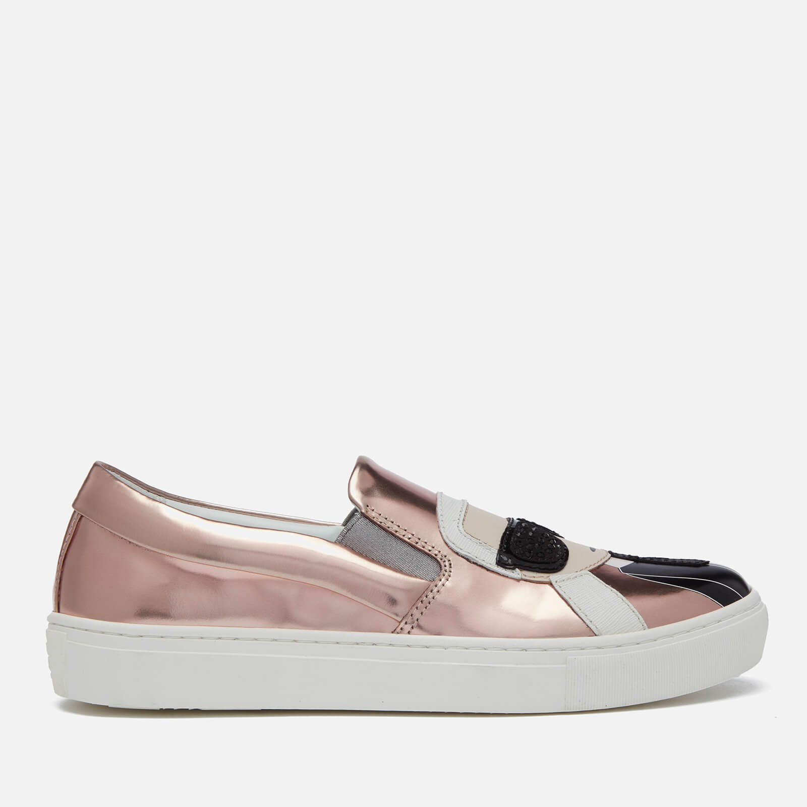 9e40ea80dde Karl Lagerfeld Women s Kupsole Leather Karl Ikonic Slip-On Trainers - Rose  Gold Mirror Womens Footwear