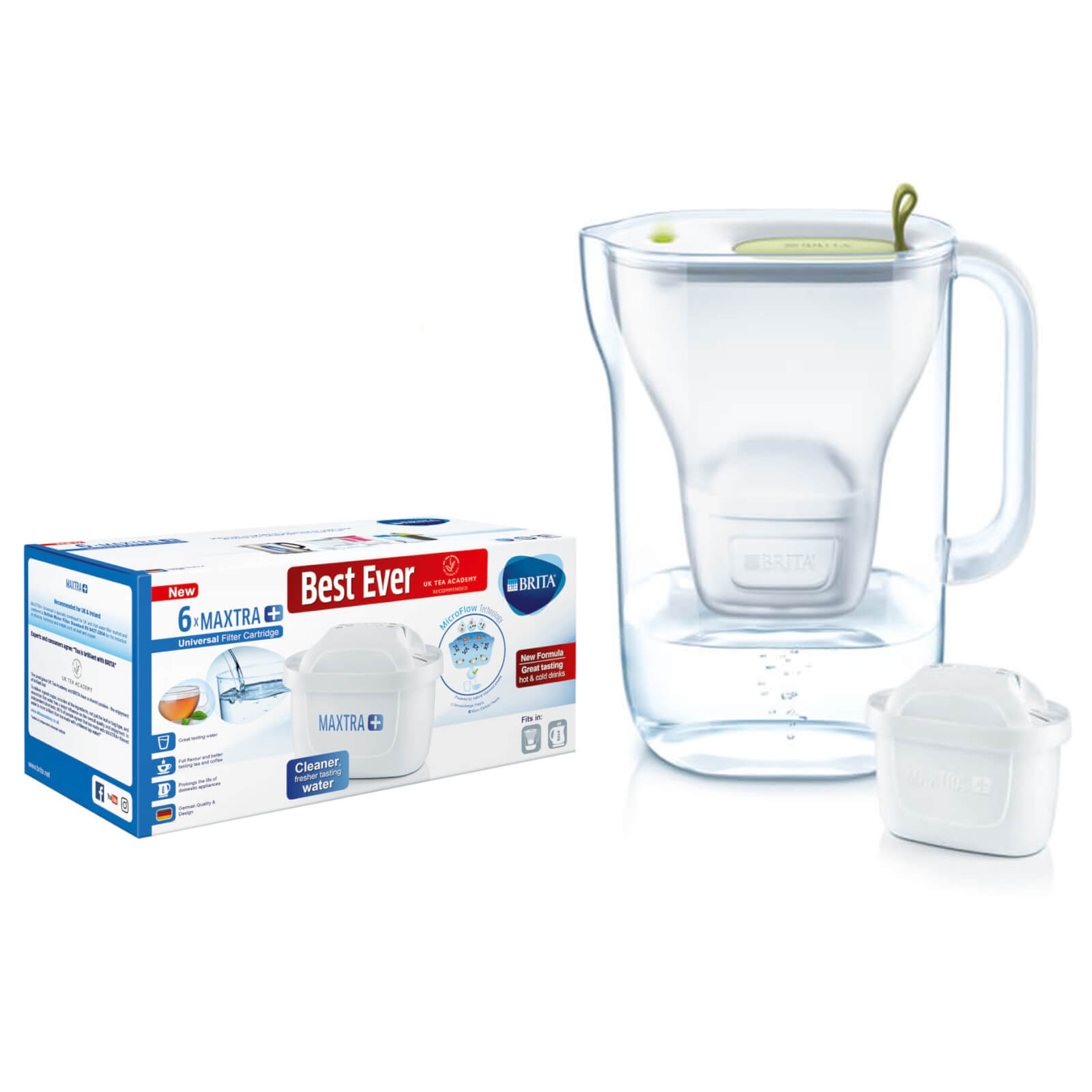 BRITA MAXTRA+ Style Lime Water Filter Jug and 6 Pack Cartridges