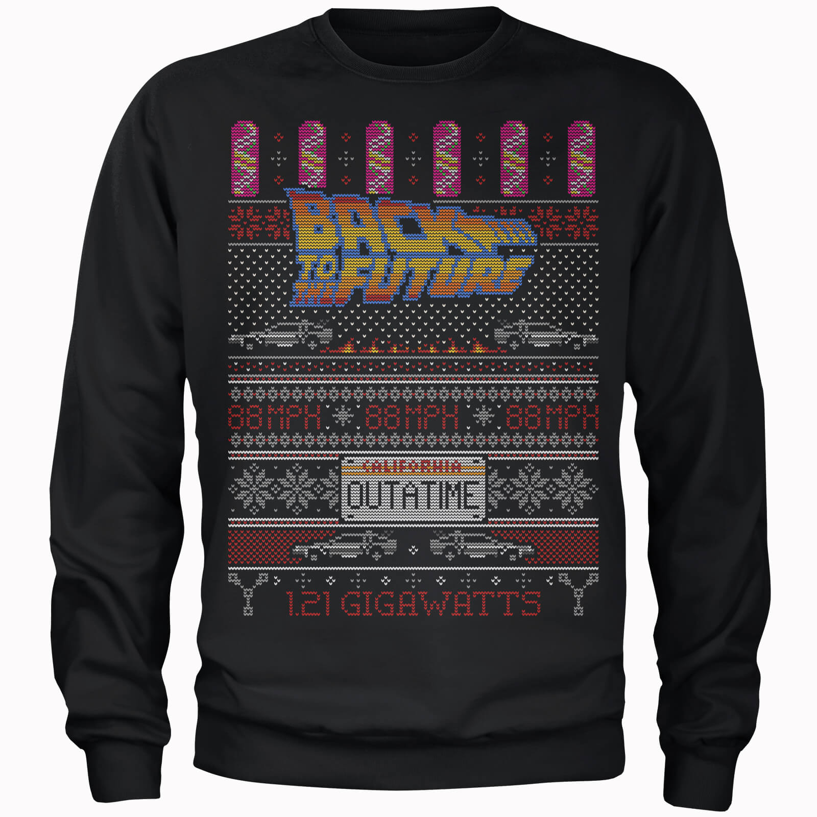 Kersttrui 68.Back To The Future Outatime Men S Christmas Sweatshirt Black