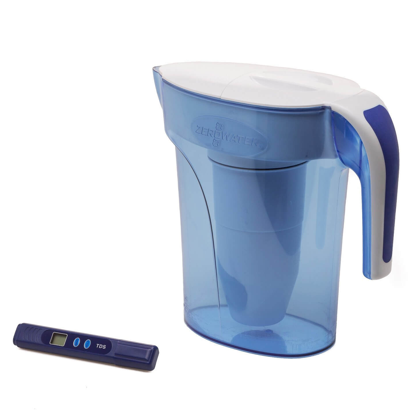 ZeroWater 7-Cup Ready Pour Pitcher - 1.66L - Blue/White