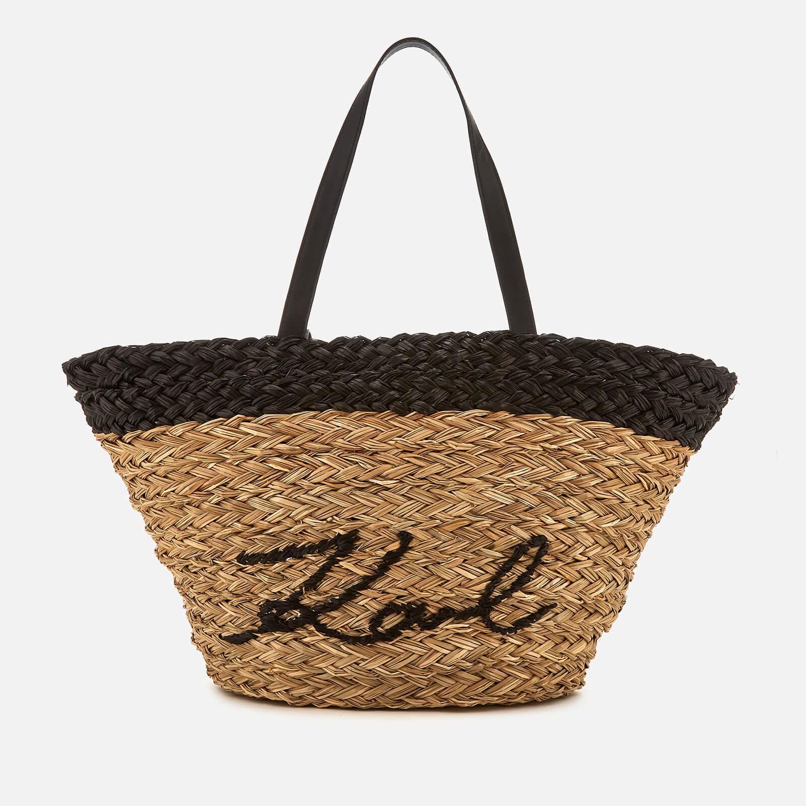 Straw Shopper Bag Natural Women's Kikonik Karl Free Lagerfeld rxthQsdBC
