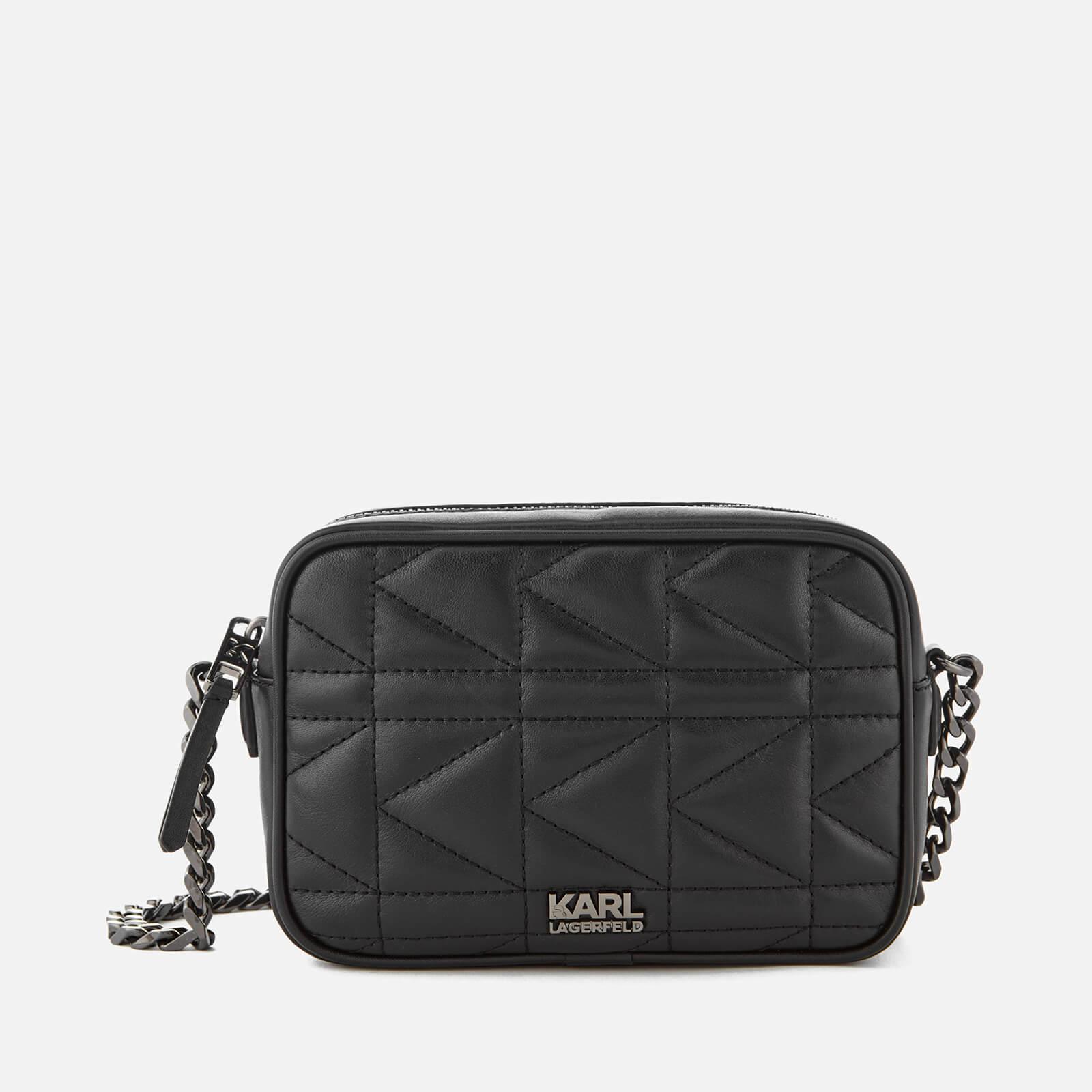 833994ea406f Karl Lagerfeld Women s K Kuilted Cross Body Bag - Black Gun metal - Free UK  Delivery over £50