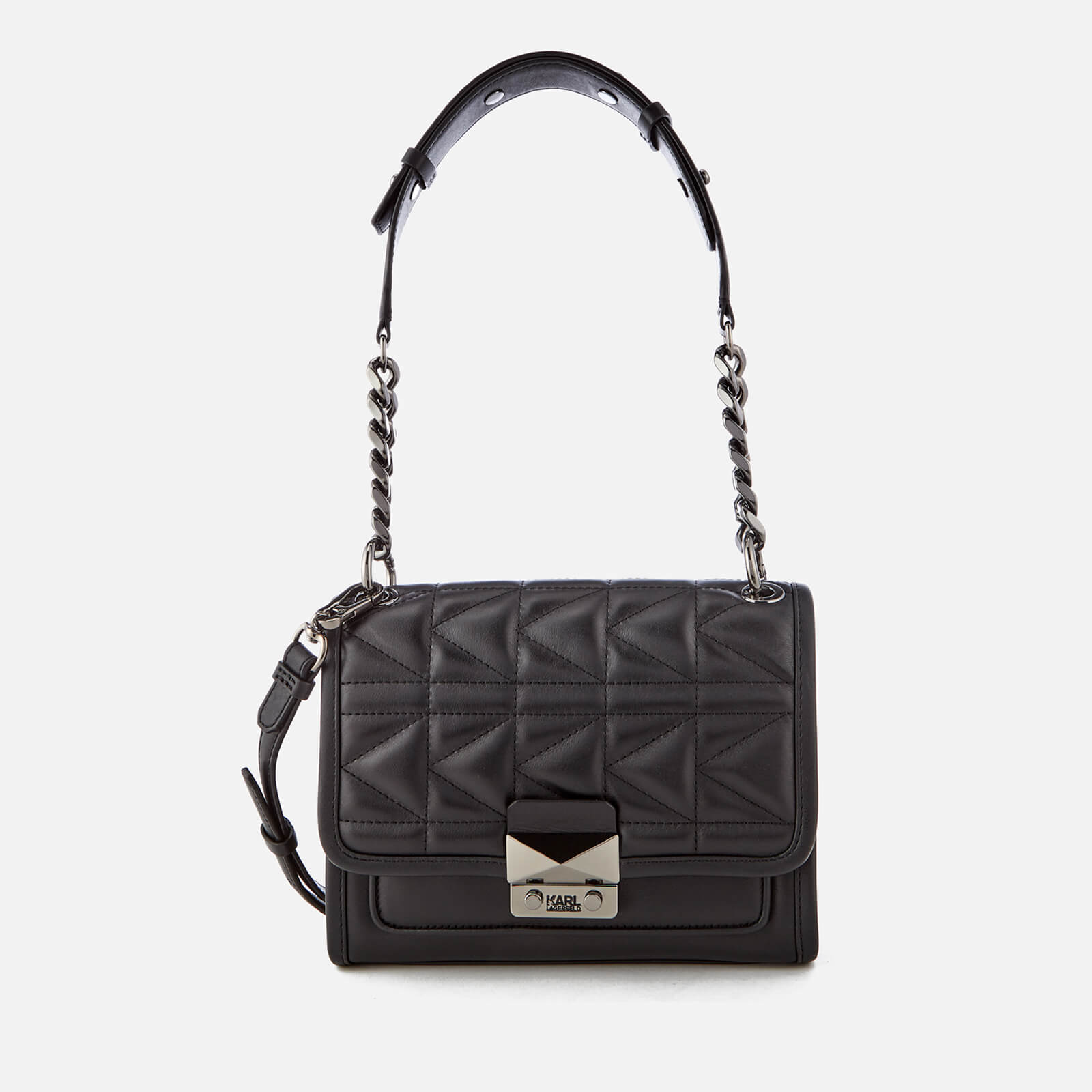 2cd1104fdcc4 Karl Lagerfeld Women s K Kuilted Mini Handbag - Black Gun metal - Free UK  Delivery over £50
