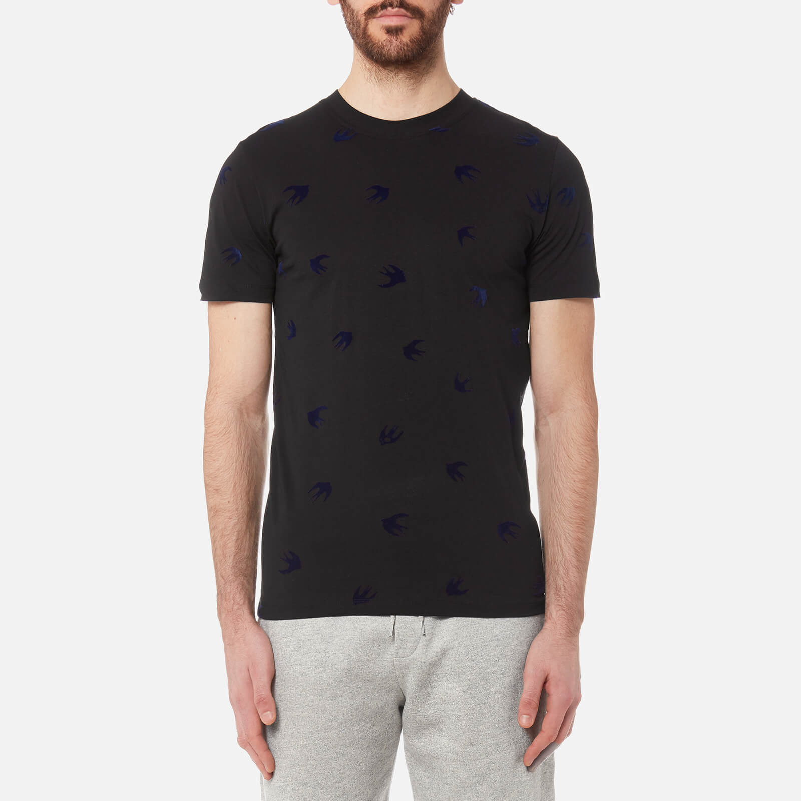 e3bb47c27 McQ Alexander McQueen Men's Flock Swallow T-Shirt - Black/Carbon Navy -  Free UK Delivery over £50