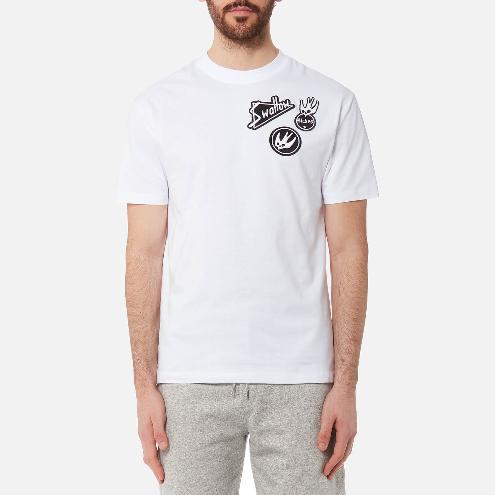 7d6d3f7a3425 McQ Alexander McQueen Men s Dropped Shoulder Swallow T-Shirt - Optic White  - Free UK Delivery over £50