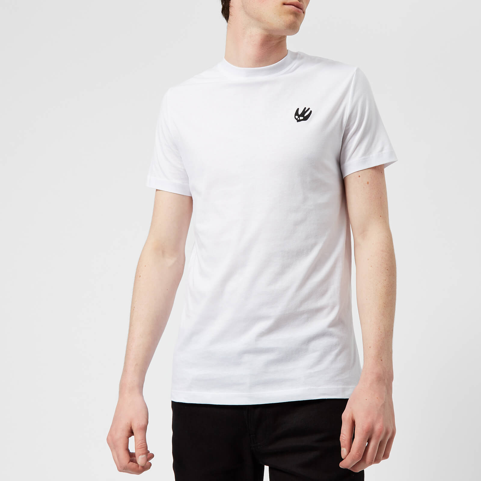 92159ca2e346 McQ Alexander McQueen Men s Short Sleeve Small Swallow Logo Crew Neck  T-Shirt - Optic White - Free UK Delivery over £50
