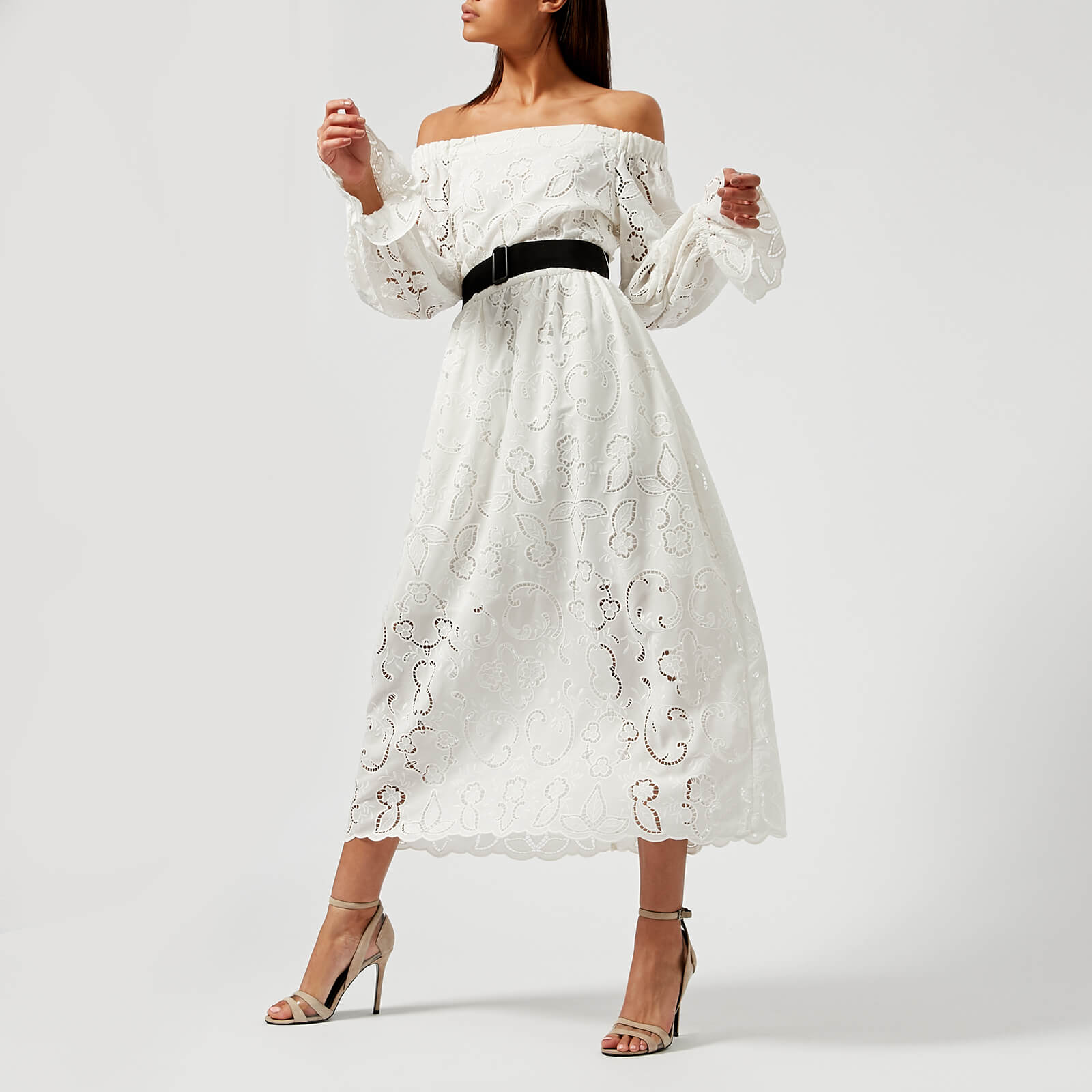 9adc5793a9c84 Perseverance London Women's Lily Cut Out Embroidered Crepe Midi Dress - Off  White - Free UK Delivery over £50