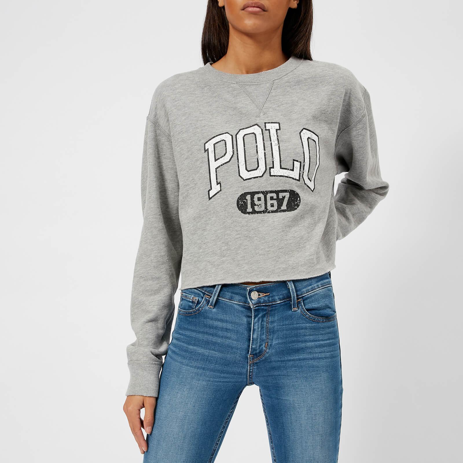 3d3d95a3 Polo Ralph Lauren Women's Cropped Polo Logo Sweatshirt - Grey Heather