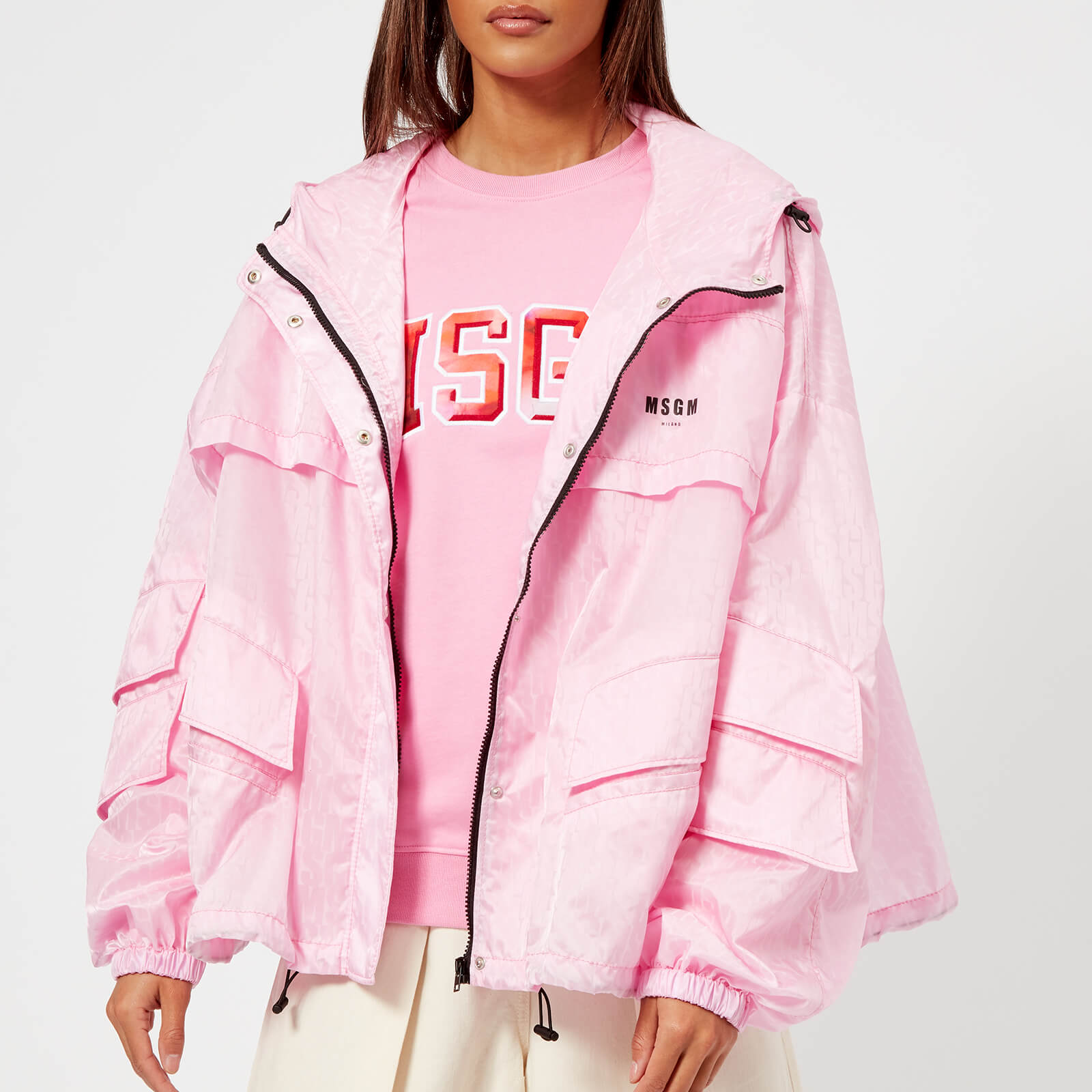 8034661da MSGM Women's Waterproof Coat with Hood - Pink