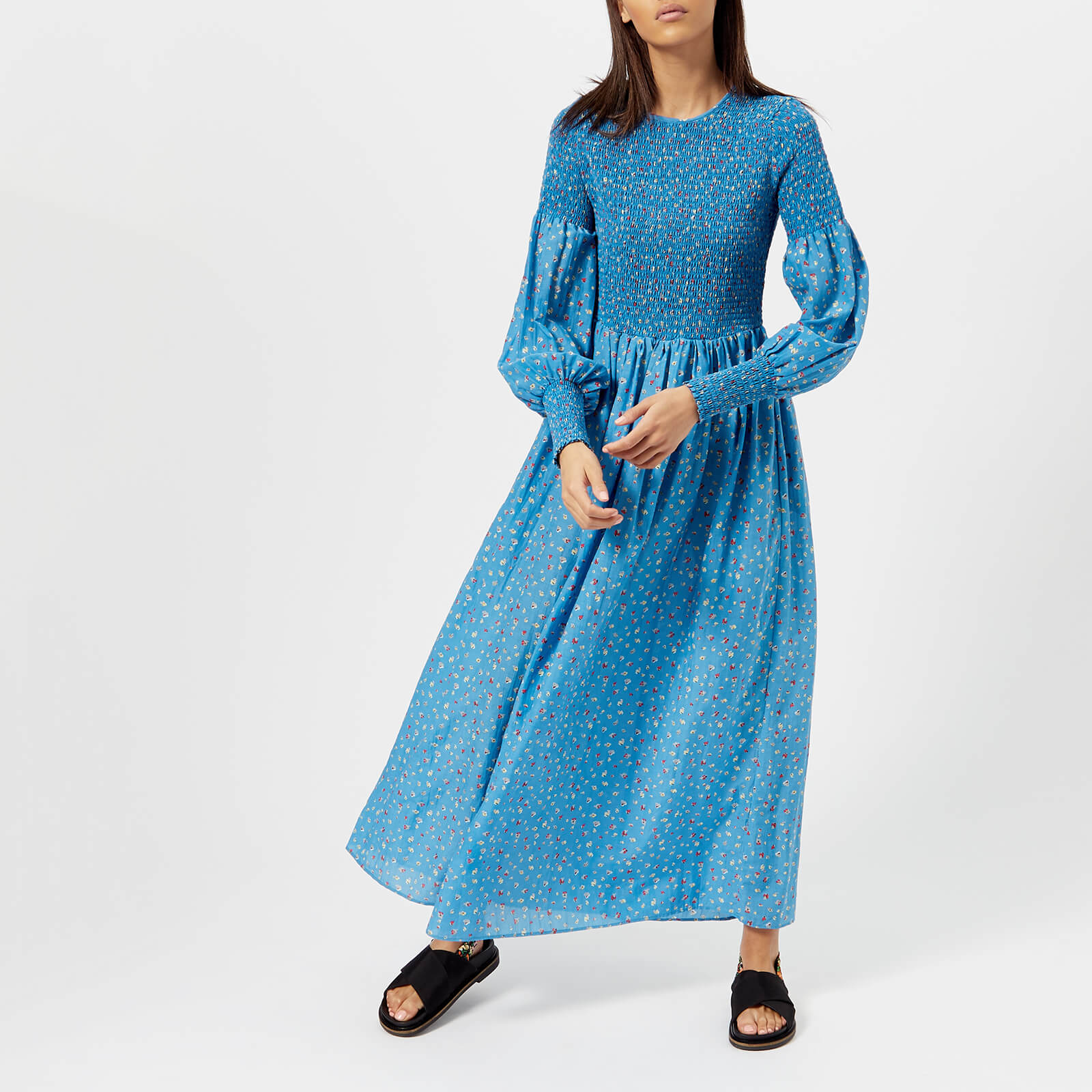 1f3af6128d2 Ganni Women s Beacon Long Sleeve Dress - Marina - Free UK Delivery over £50