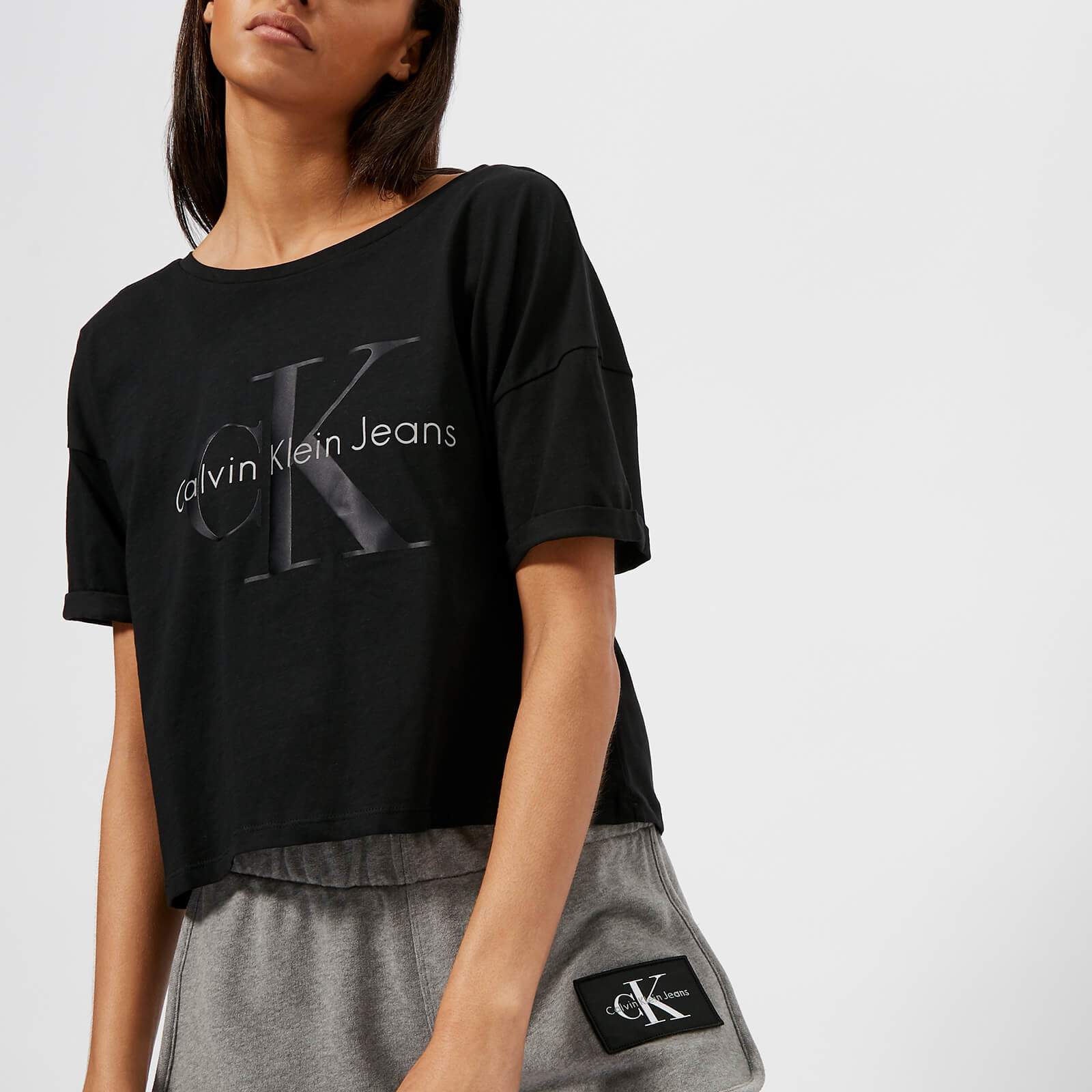 c9306452c76 Calvin Klein Women's CK Logo Crop Top - Black Womens Clothing | TheHut.com