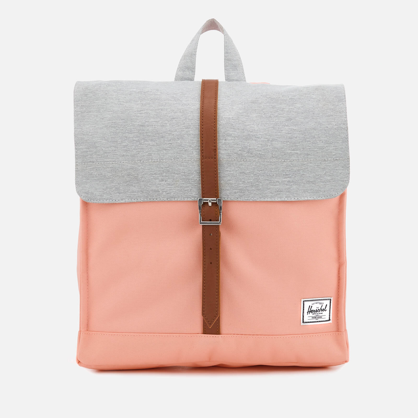 b0149a23770 Herschel Supply Co. Women s City Mid-Volume Backpack - Peach Light Grey  Crosshatch Tan Synthetic Leather - Free UK Delivery over £50