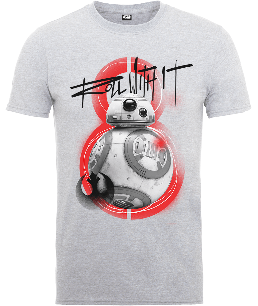 Star Wars The Last Jedi BB8 Roll With IT Grey T-Shirt